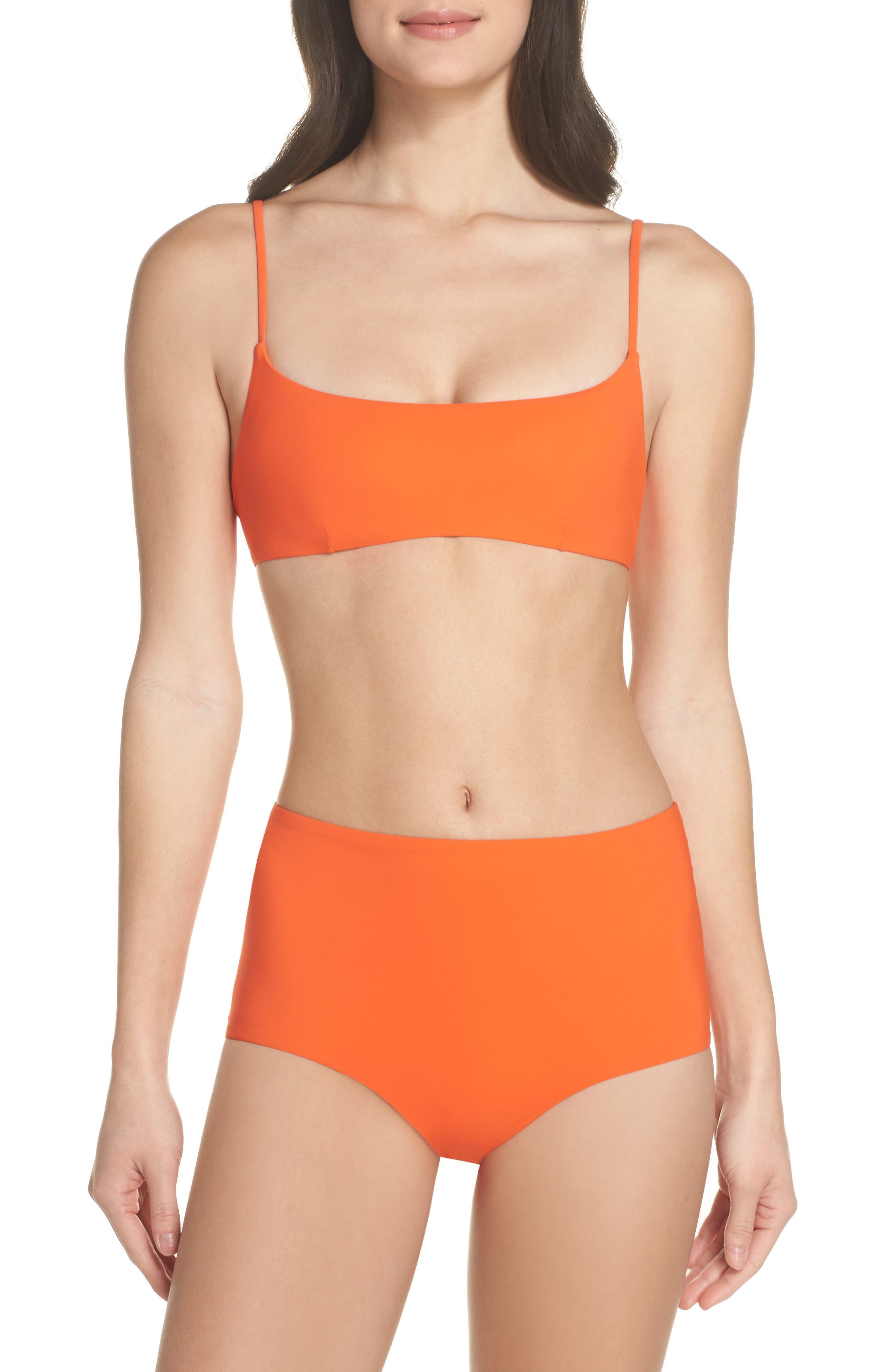 Marina High Waist Bikini Bottoms,                             Alternate thumbnail 5, color,                             Sweet Tangerine