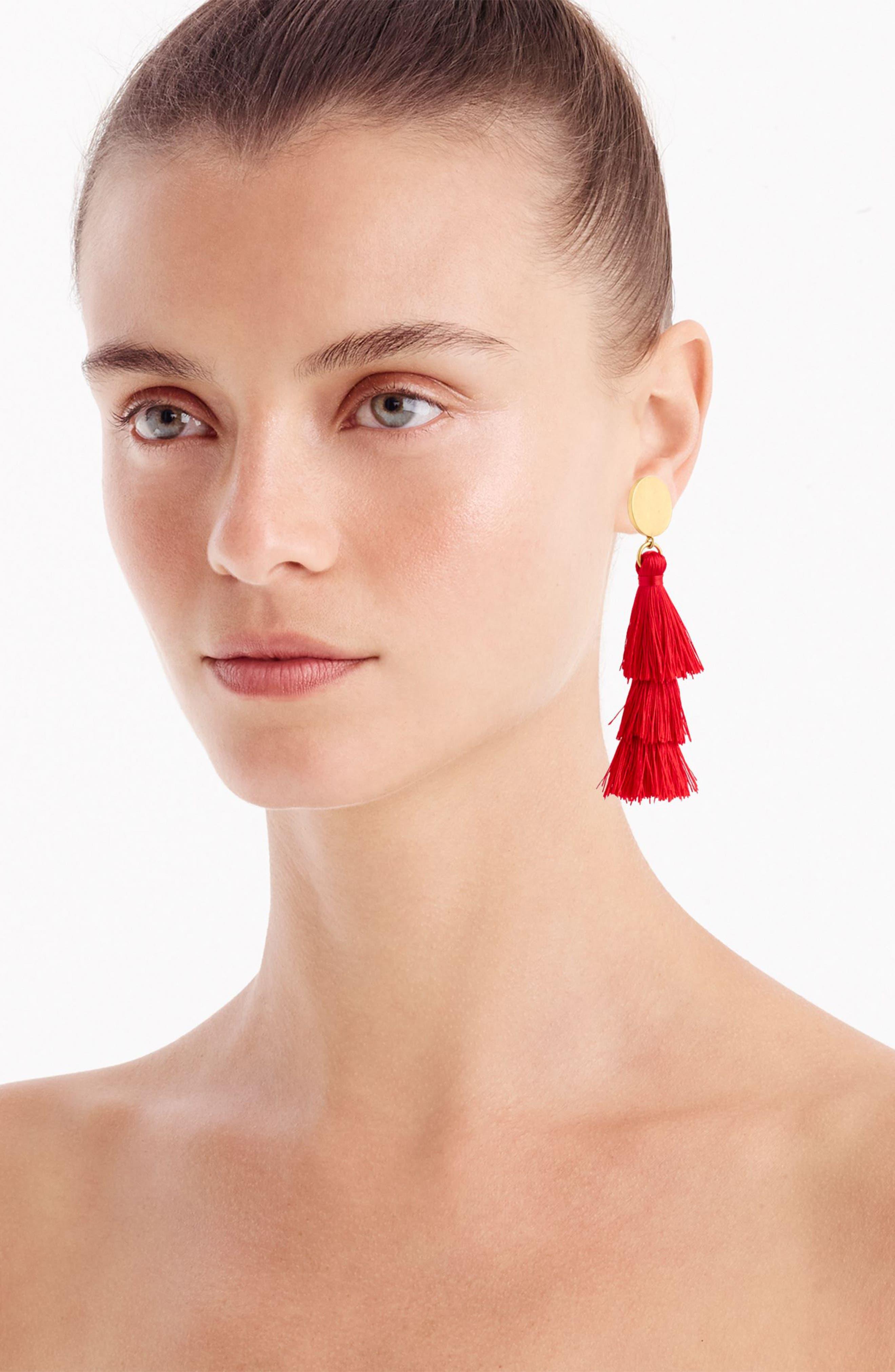 J.Crew Tiered Tassel Earrings,                             Alternate thumbnail 2, color,                             Red