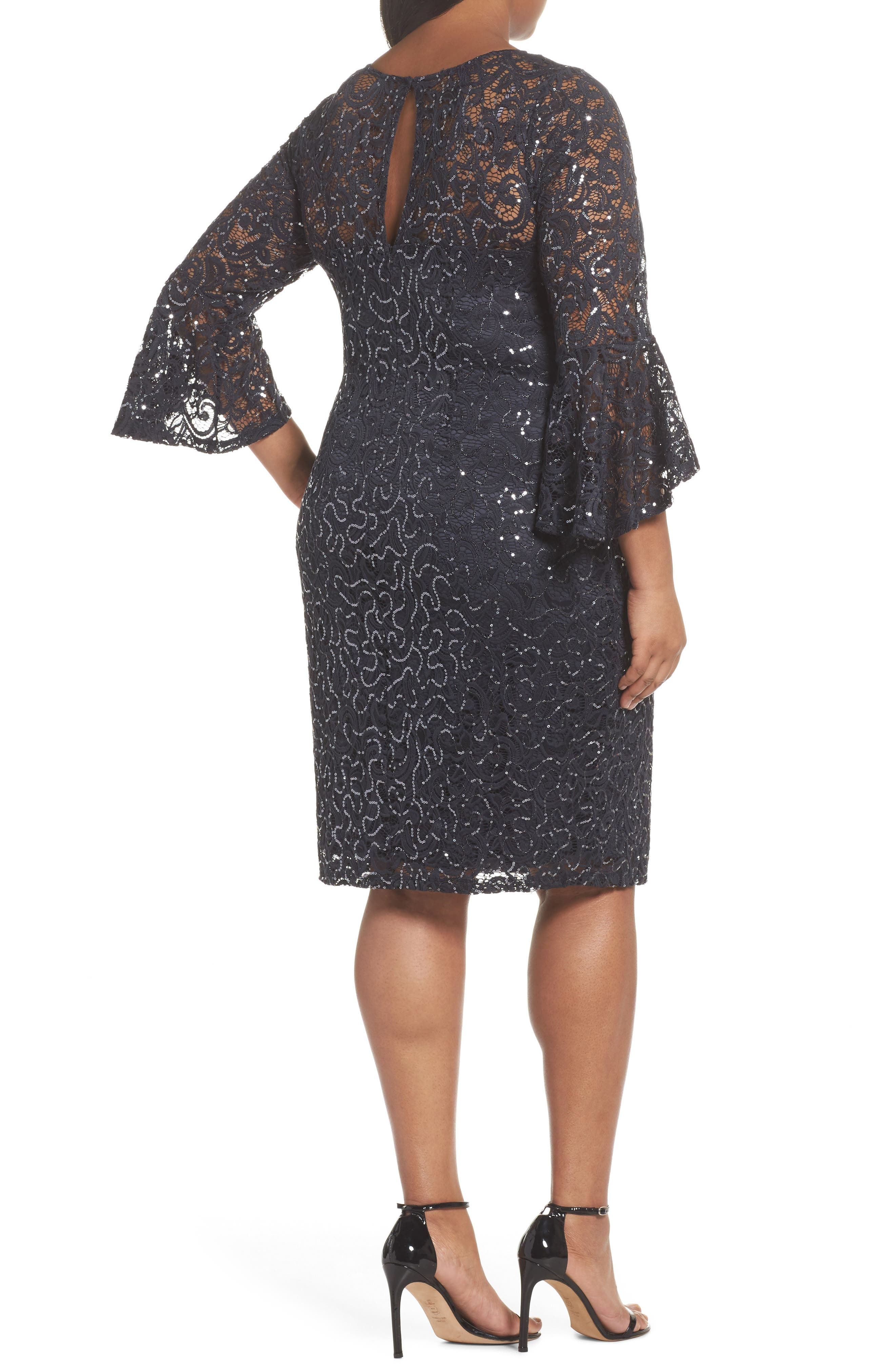 Sequin Lace Bell Sleeve Dress,                             Alternate thumbnail 2, color,                             Gunmetal