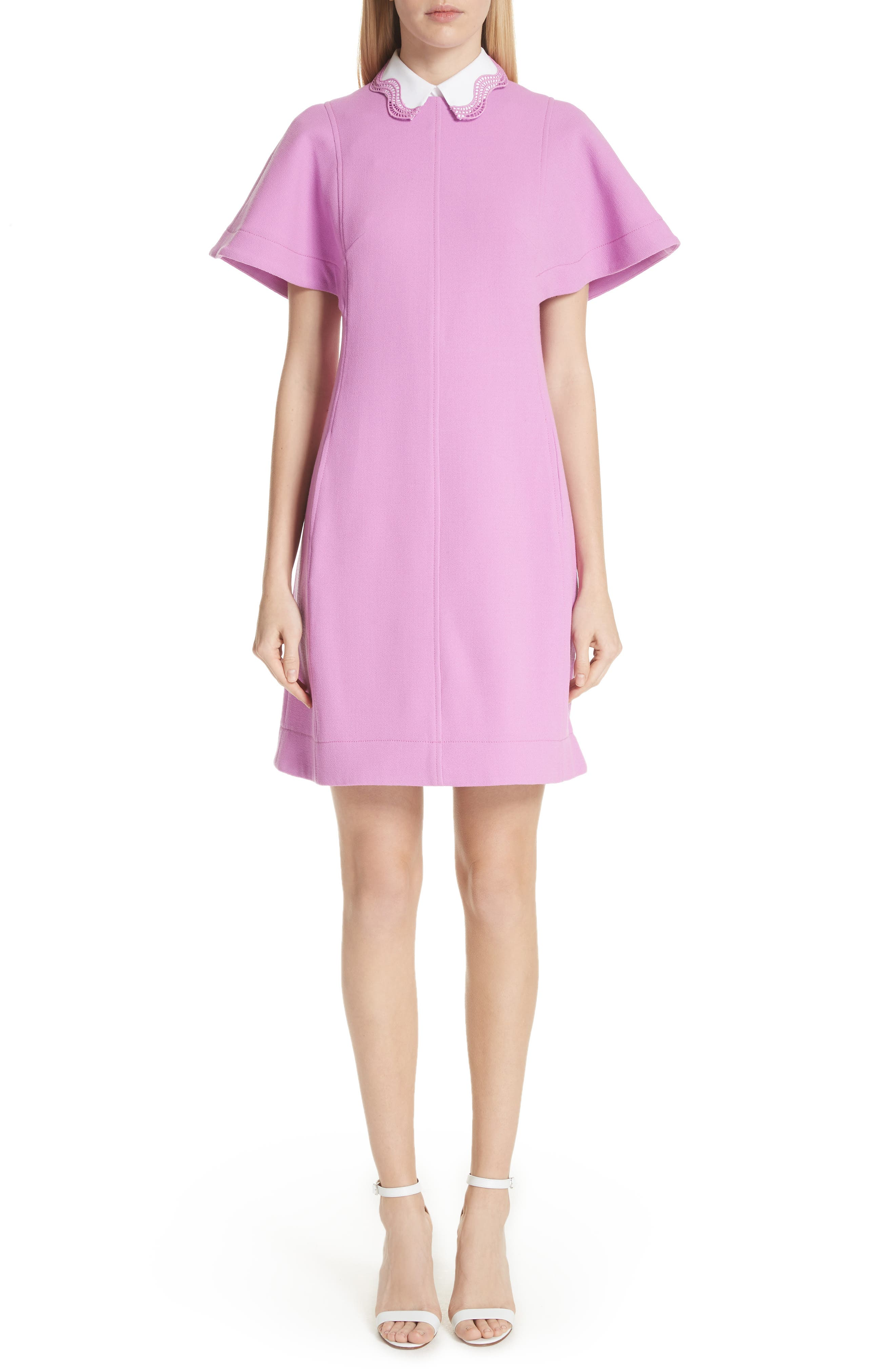 Embroidered Collar Tunic Dress by Lela Rose