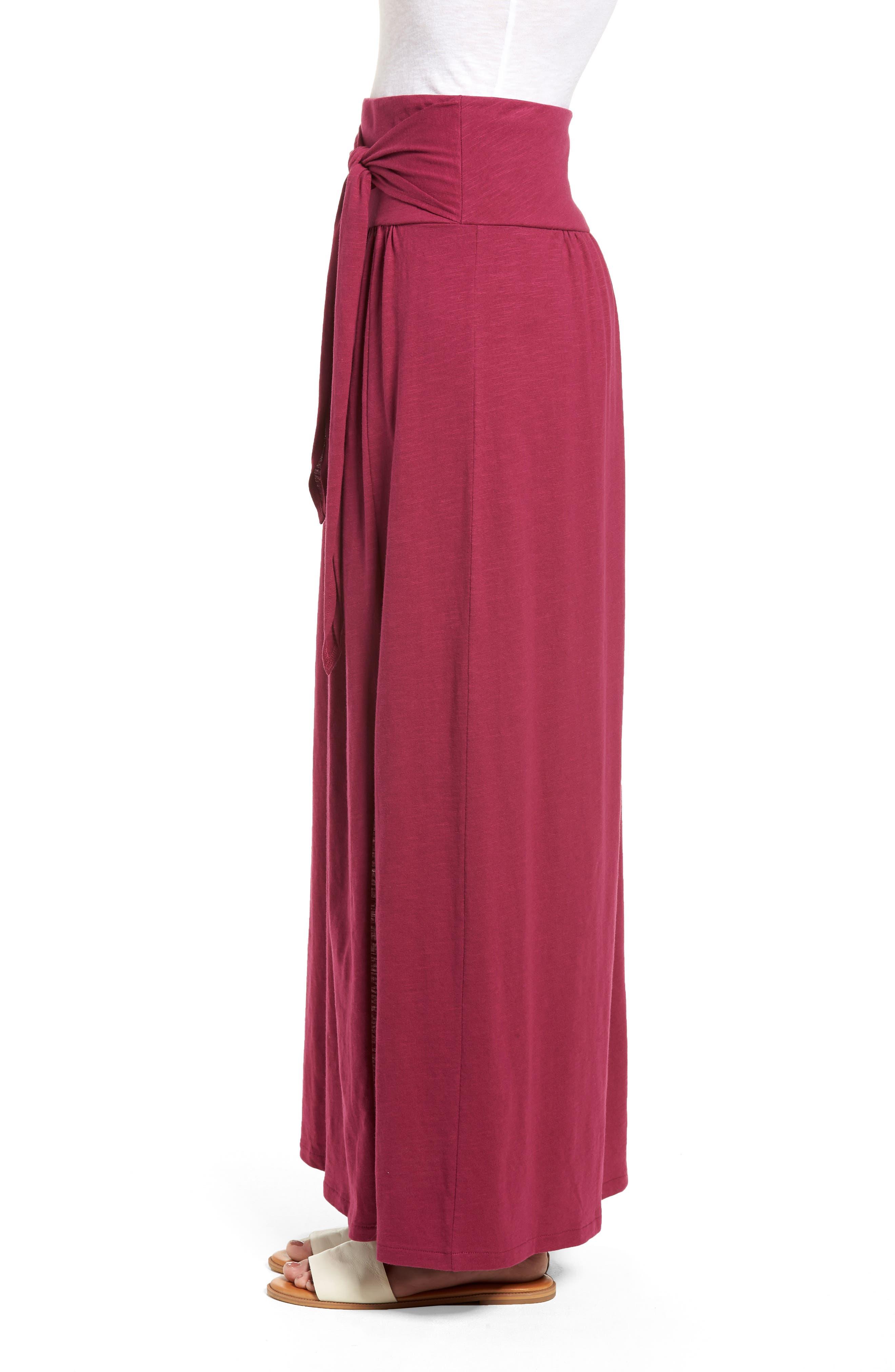 Tie Front Cotton Maxi Skirt,                             Alternate thumbnail 3, color,                             Purple Fuchsia