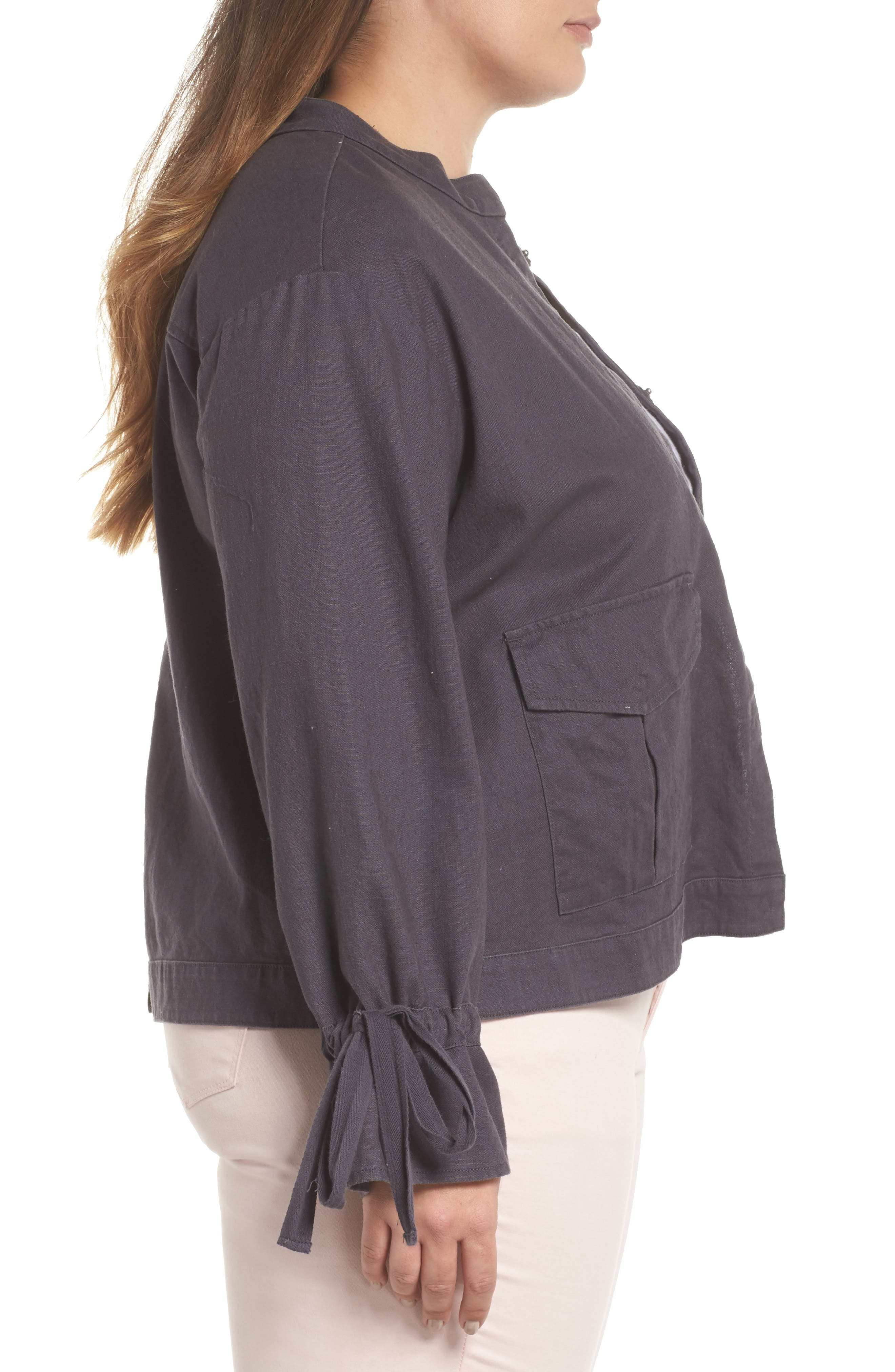 Tie Sleeve Utility Jacket,                             Alternate thumbnail 3, color,                             Grey Ebony