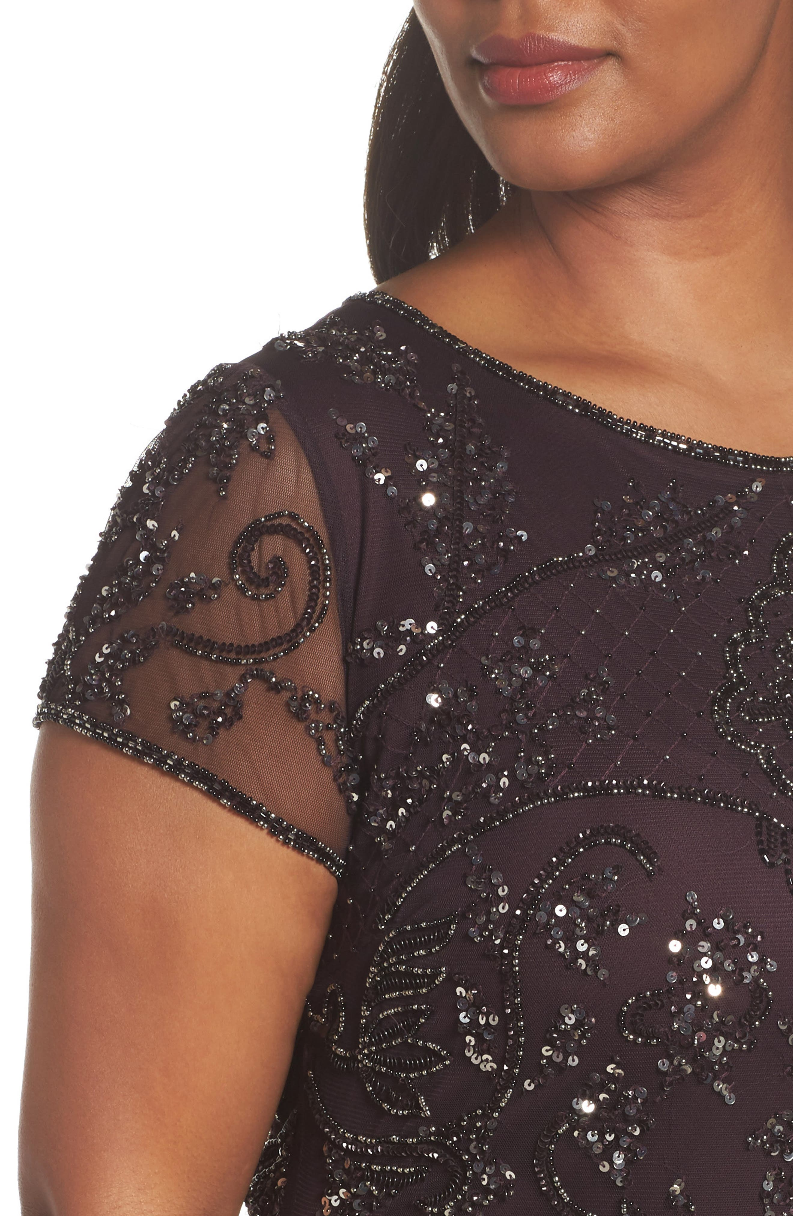 Beaded Short Sleeve Column Gown,                             Alternate thumbnail 4, color,                             Wine