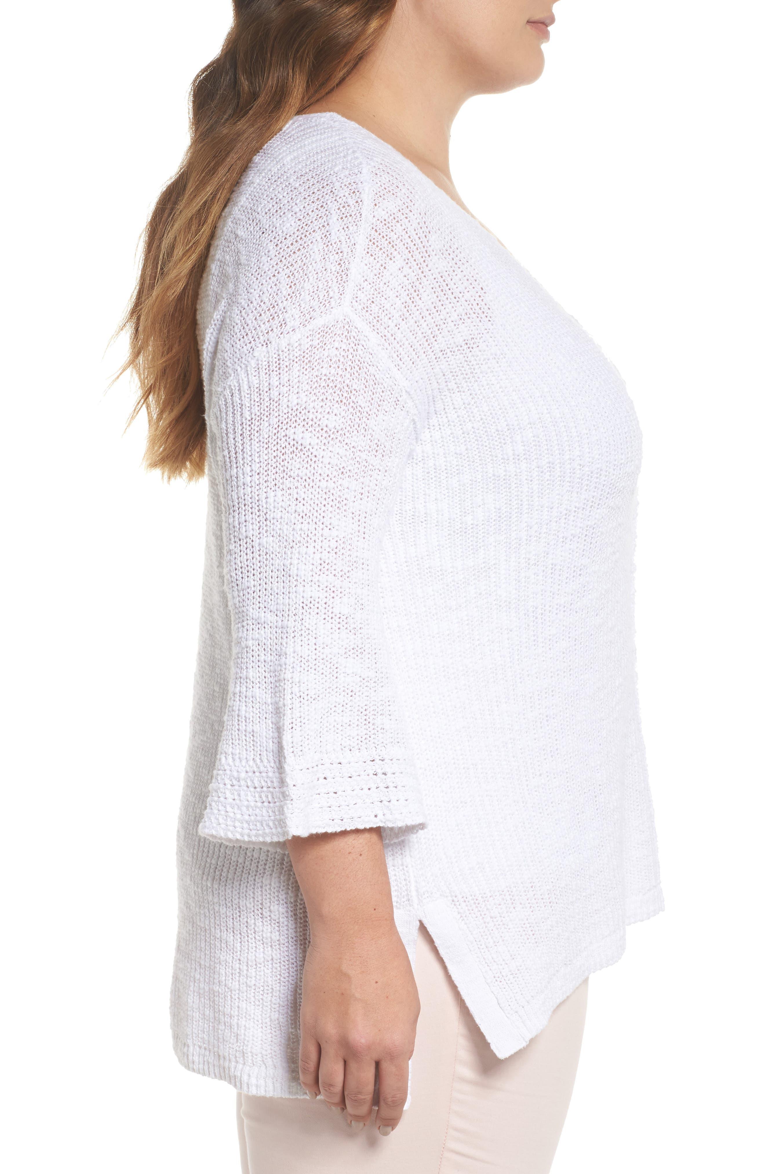 Hidden Snap V-Neck Sweater,                             Alternate thumbnail 3, color,                             White