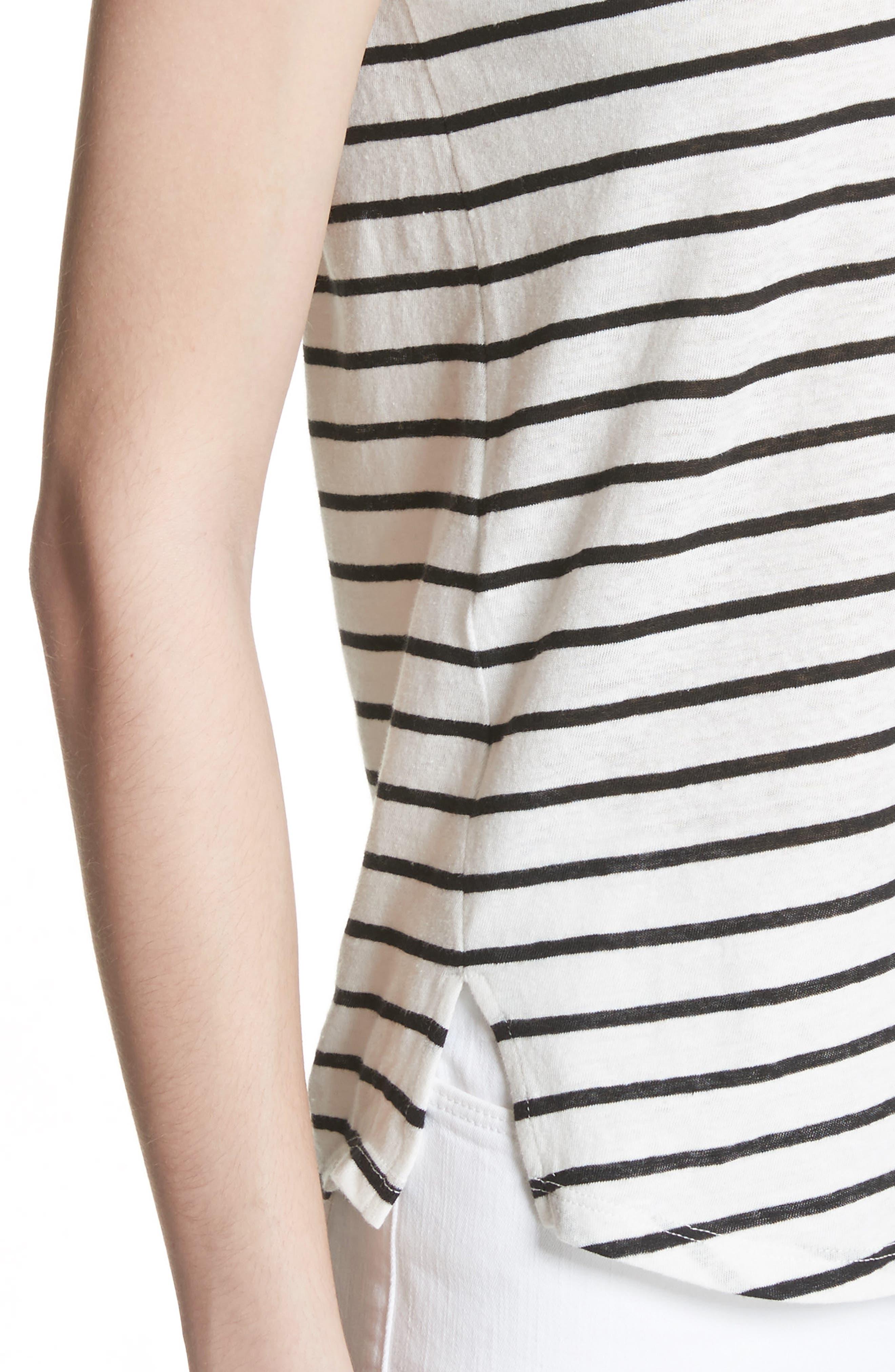 Navigate Stripe Linen Cotton Tee,                             Alternate thumbnail 4, color,                             White/ Black