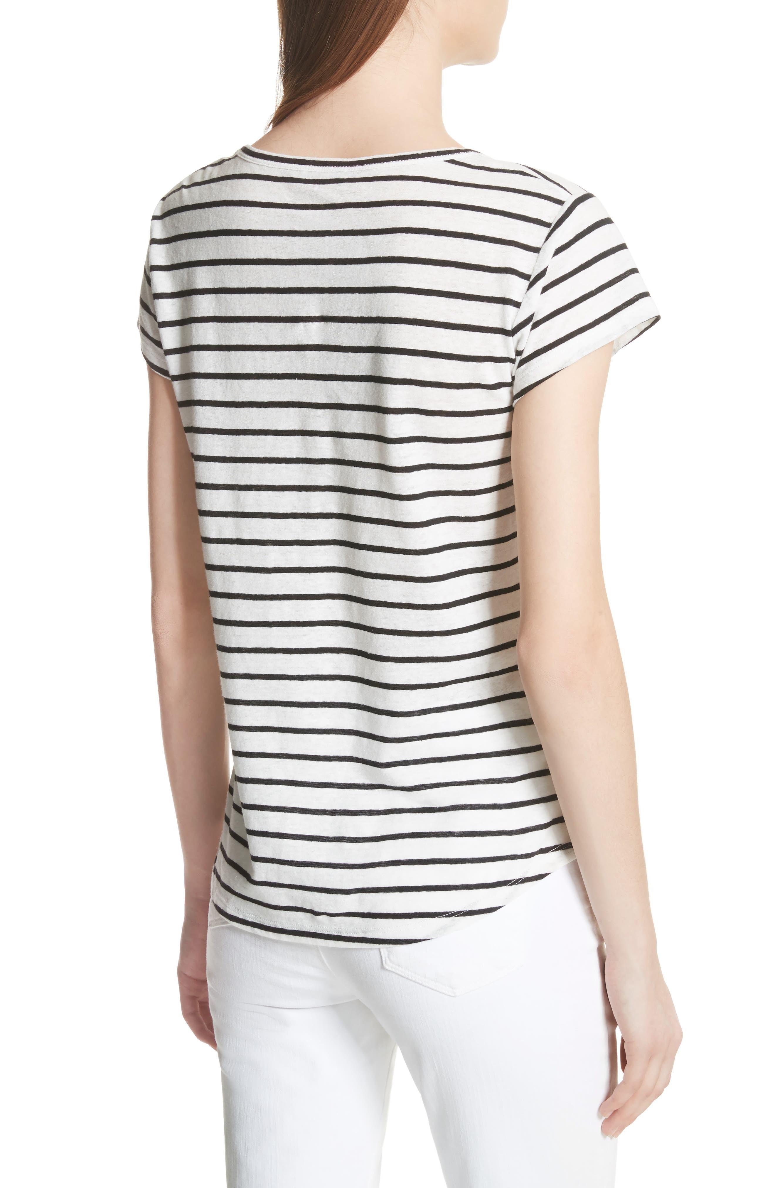 Navigate Stripe Linen Cotton Tee,                             Alternate thumbnail 2, color,                             White/ Black
