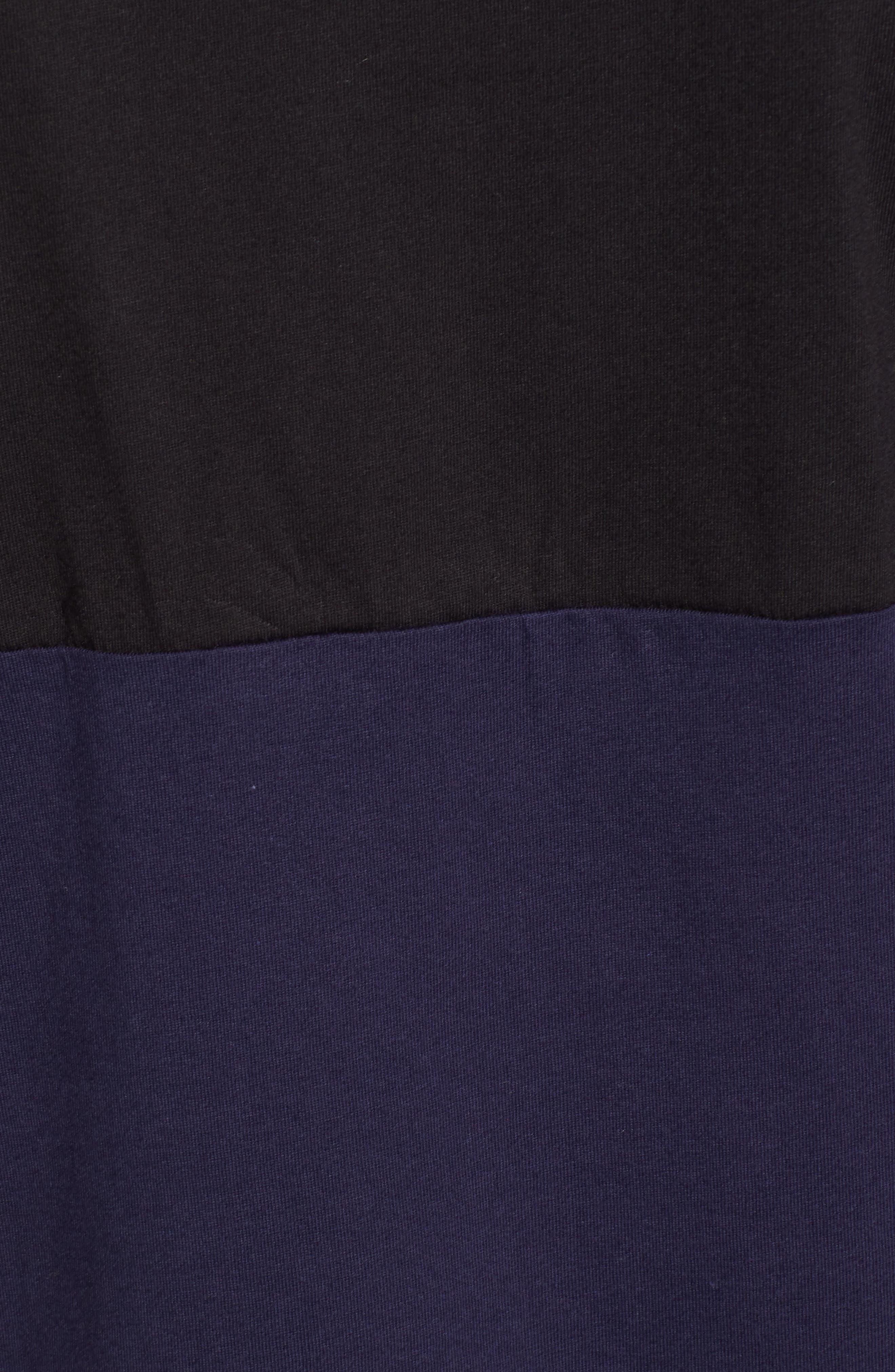 Half Stripe Crewneck T-Shirt,                             Alternate thumbnail 5, color,                             Black/ Blue Blood