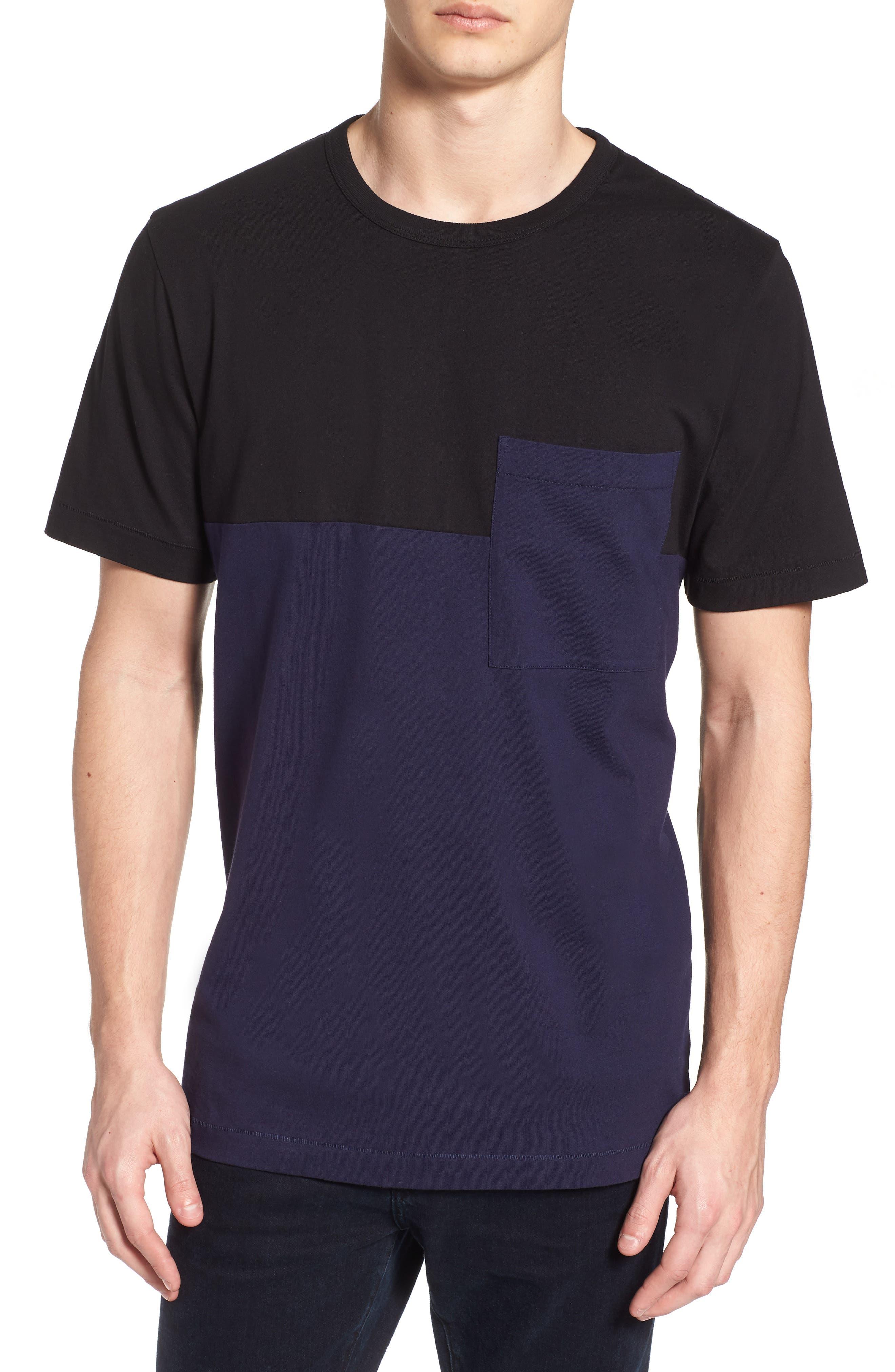 Half Stripe Crewneck T-Shirt,                             Main thumbnail 1, color,                             Black/ Blue Blood