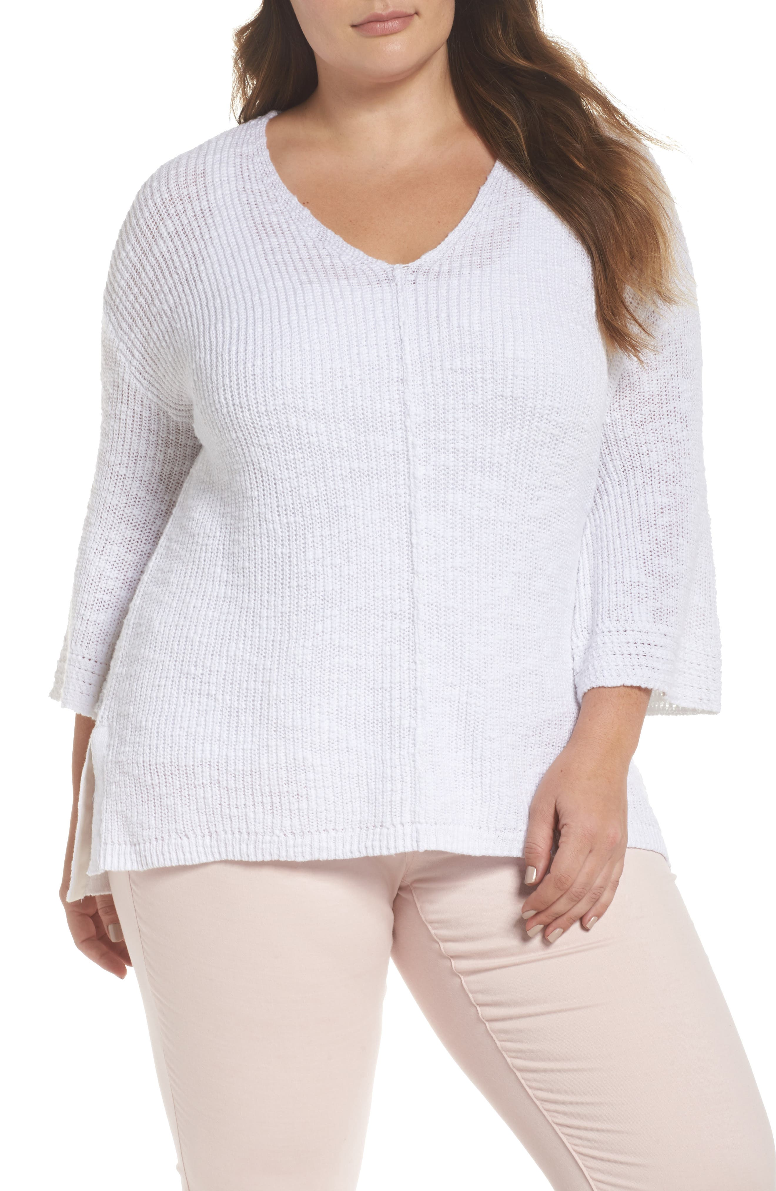 Hidden Snap V-Neck Sweater,                         Main,                         color, White