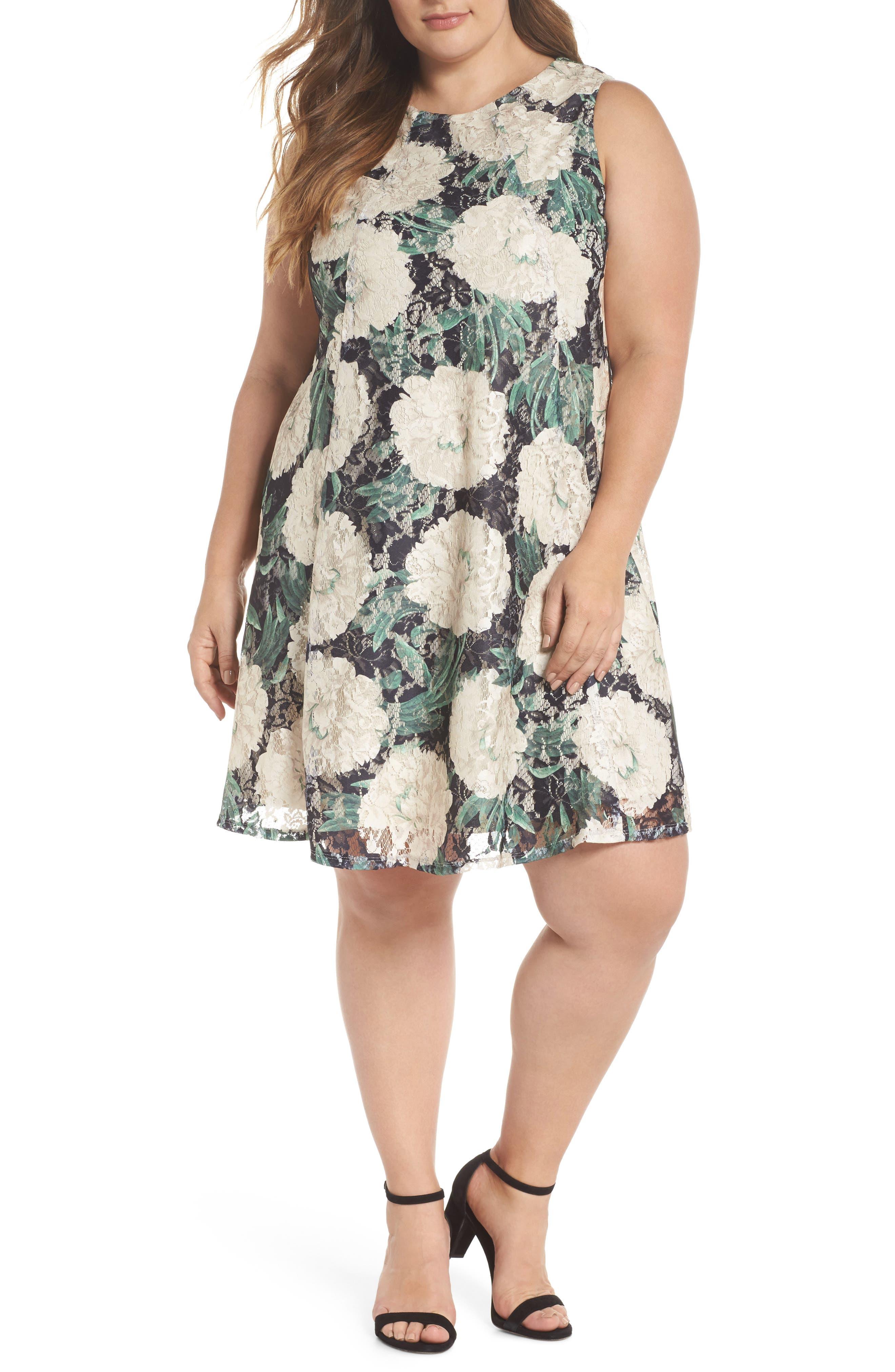 Print Lace Trapeze Dress,                         Main,                         color, Black/ Sage