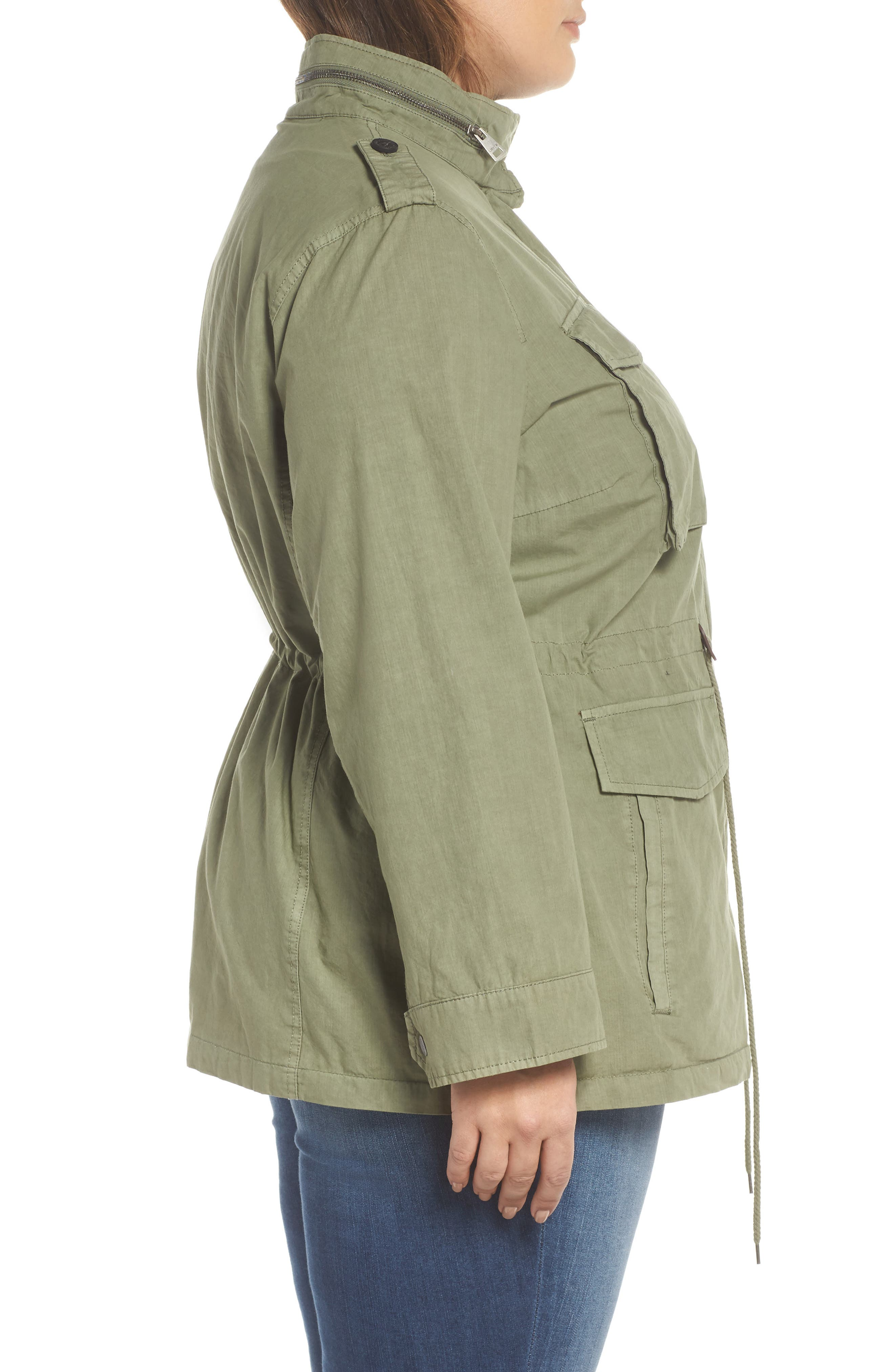 Cotton Military Jacket,                             Alternate thumbnail 3, color,                             Light Green