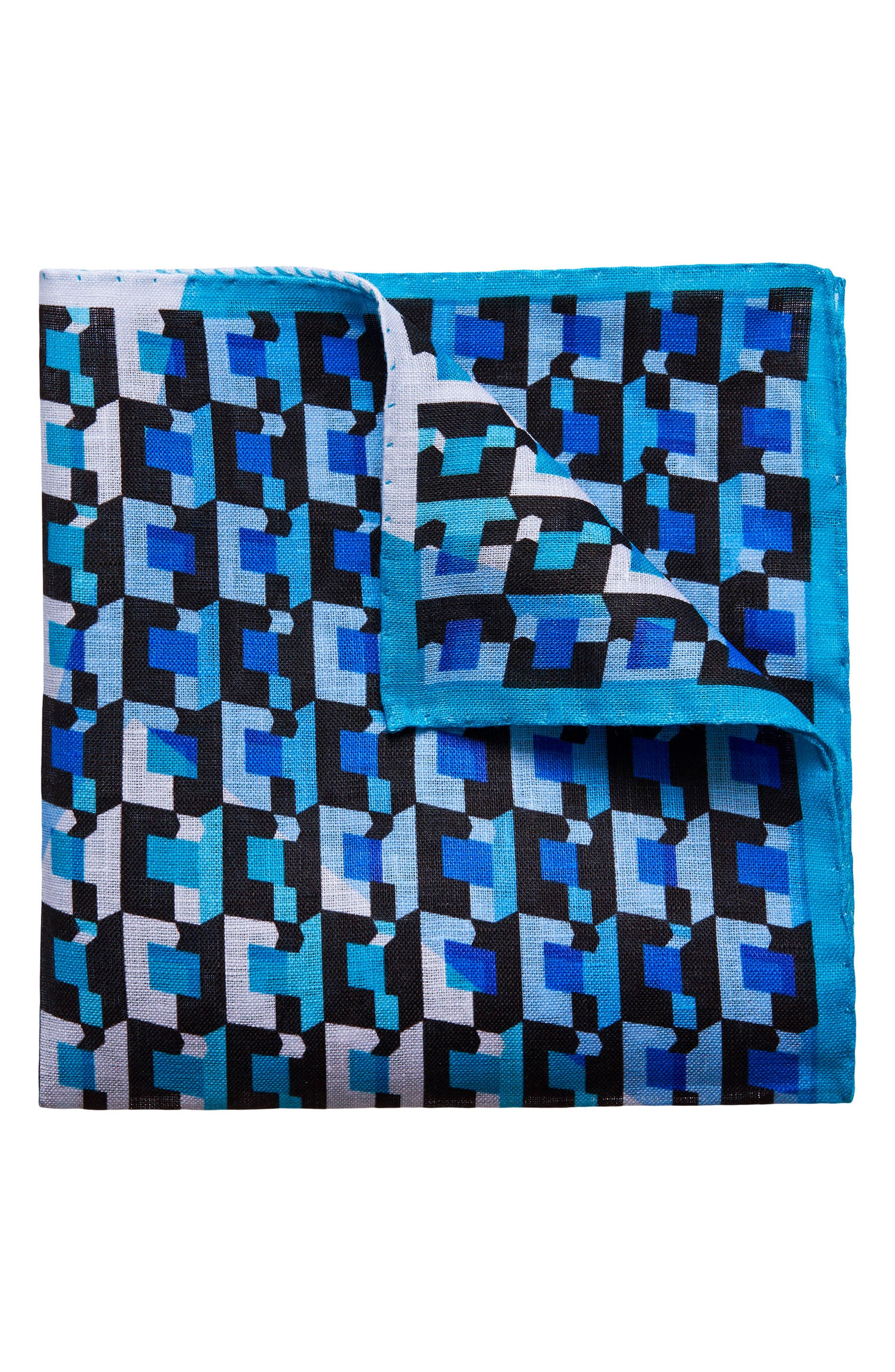 Geometric Linen Pocket Square,                         Main,                         color, Blue