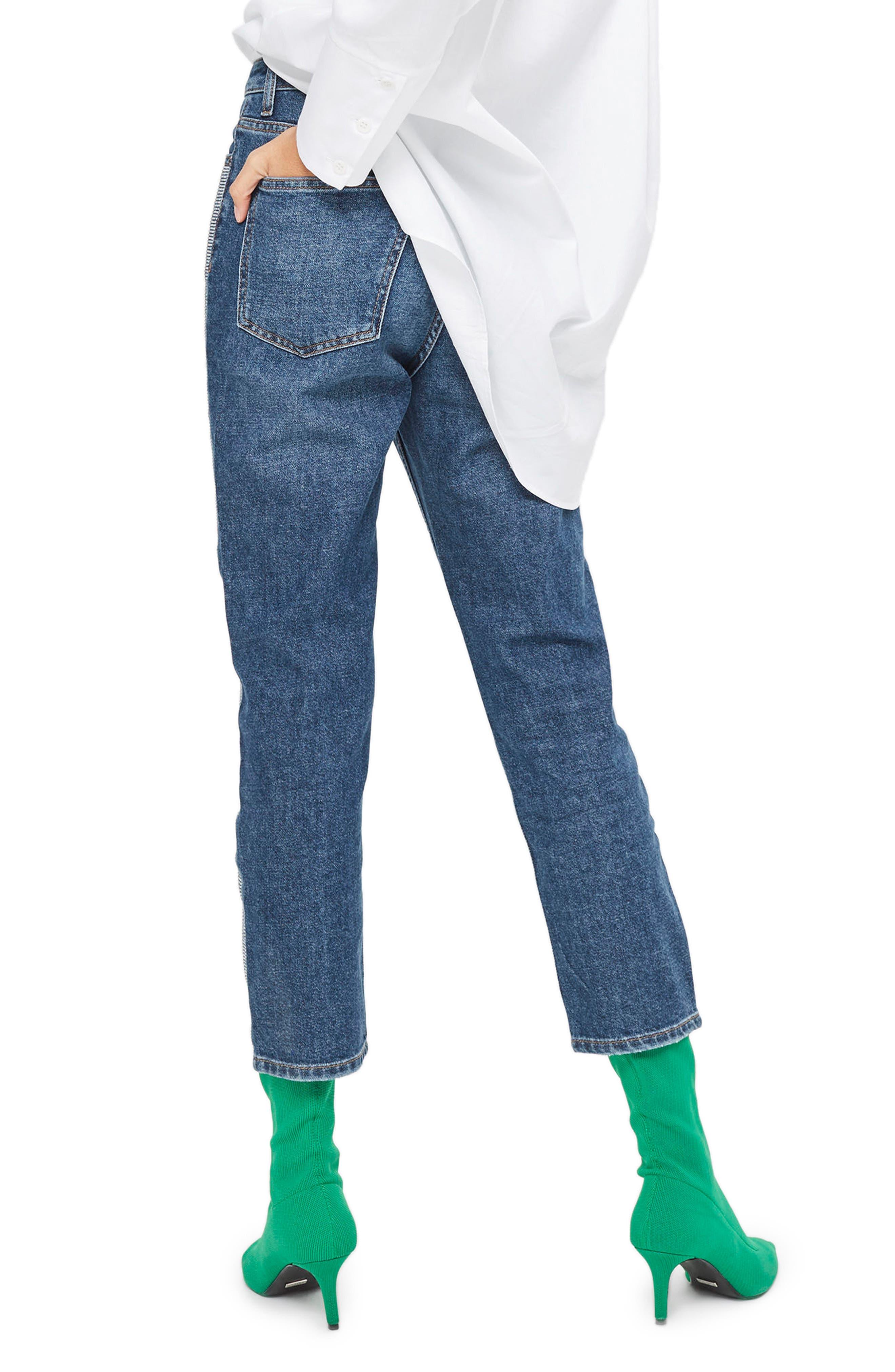 Diamante Stripe Straight Leg Jeans,                             Alternate thumbnail 2, color,                             Mid Denim