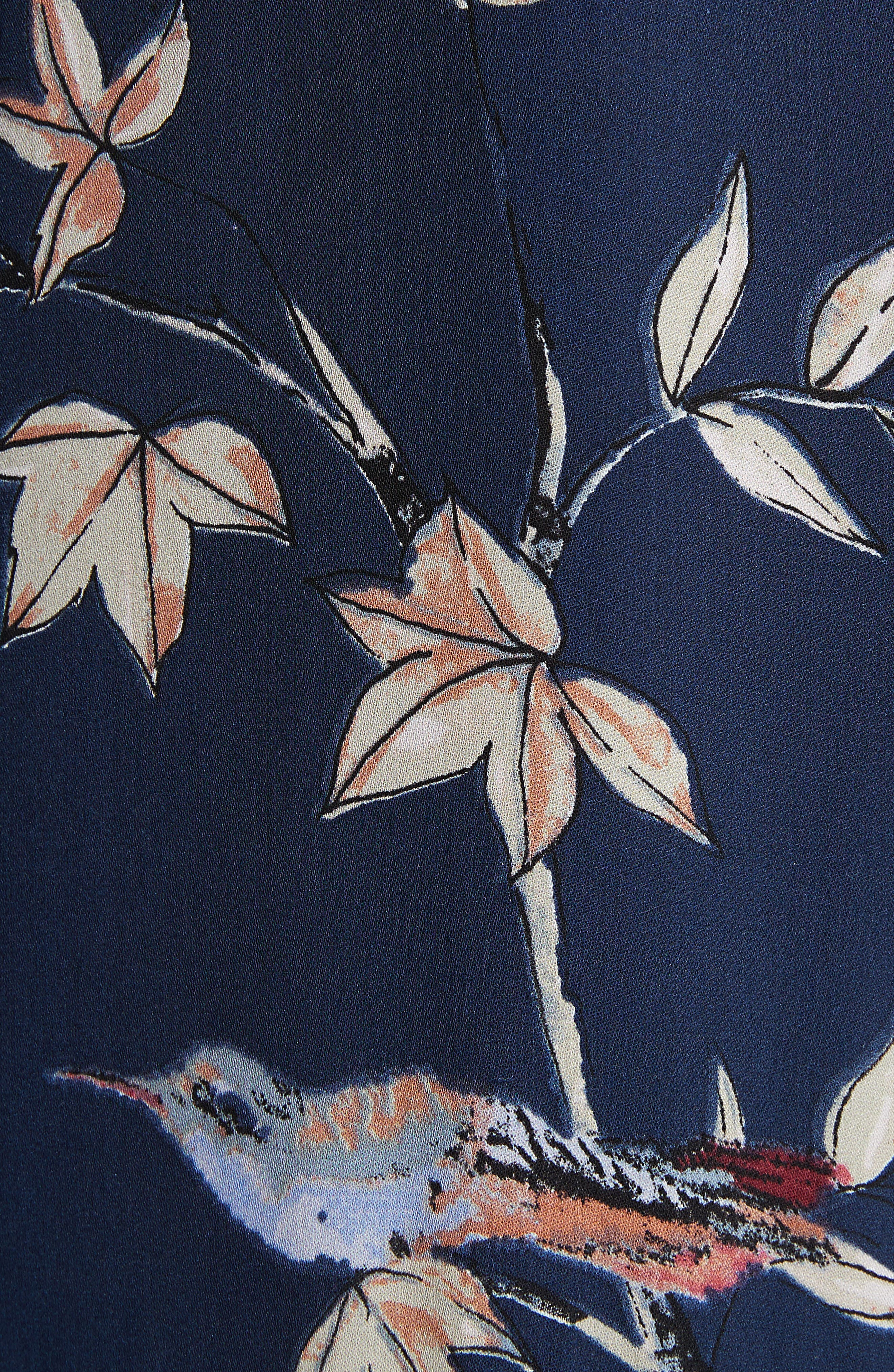 Coreen Drop Waist Floral Silk Dress,                             Alternate thumbnail 5, color,                             Dark Navy