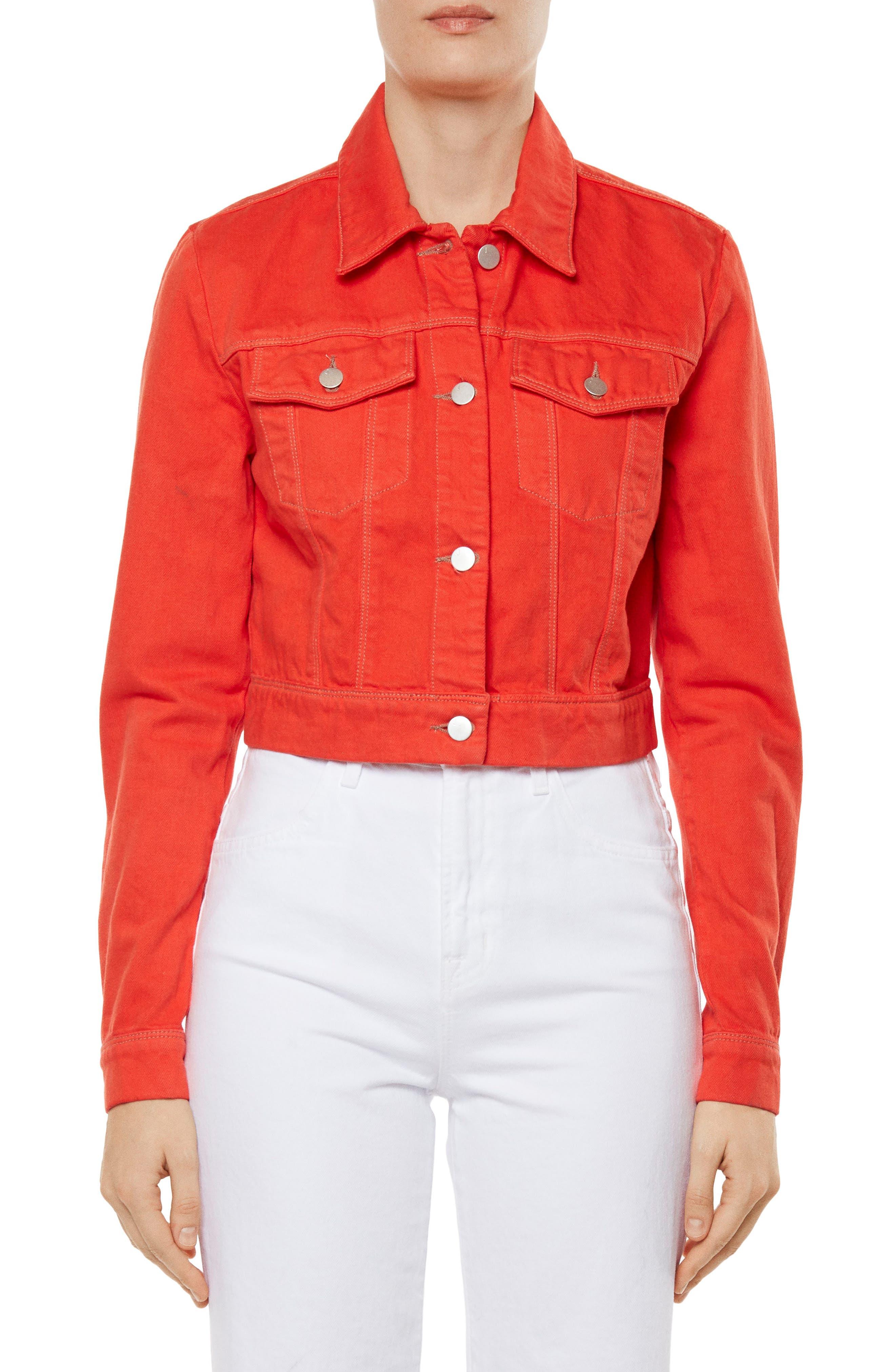 Faye Crop Denim Jacket,                             Main thumbnail 1, color,                             Bright Coral
