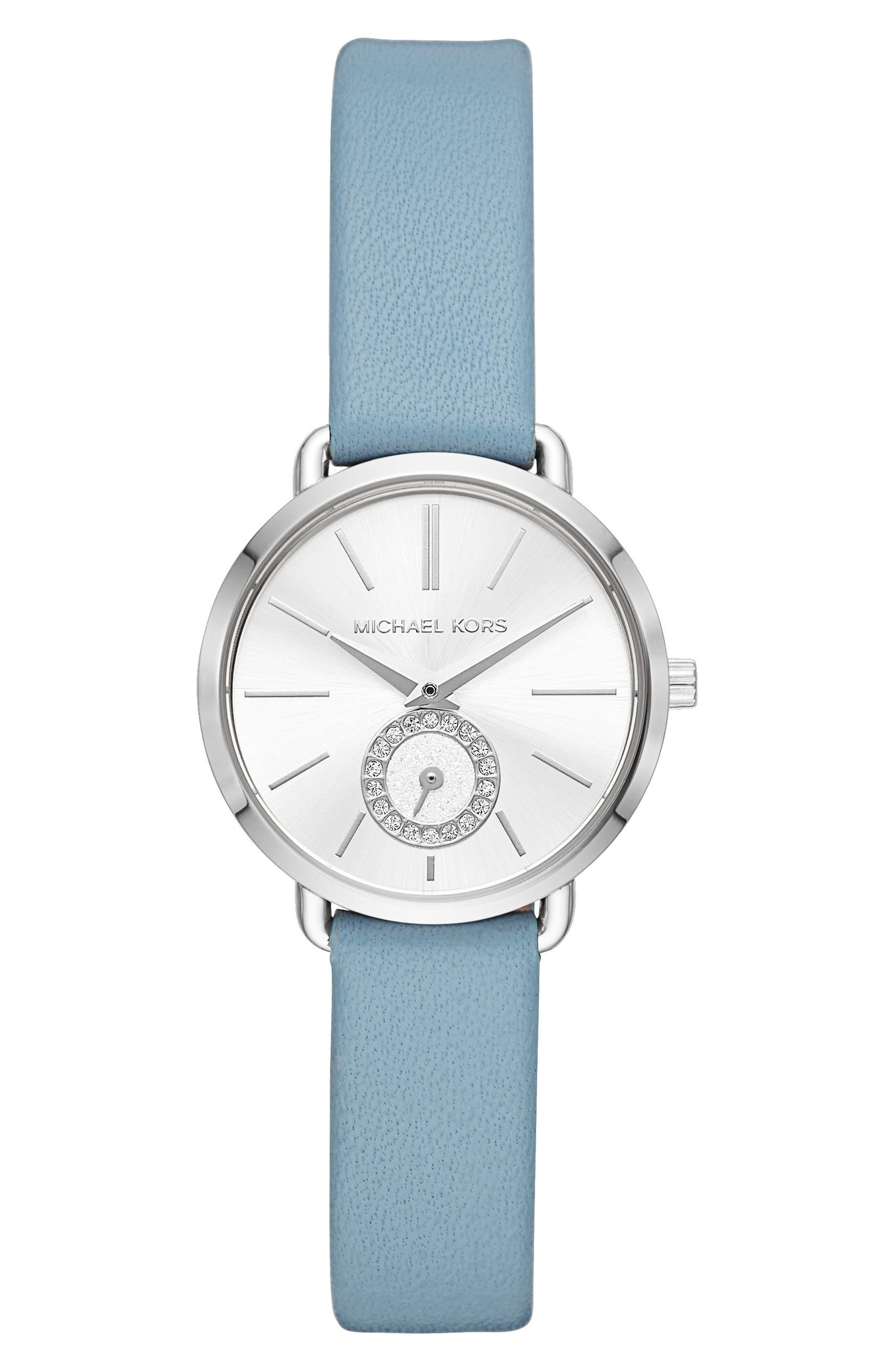 Mini Portia Leather Strap Watch, 28mm,                             Main thumbnail 1, color,                             Blue/ Silver