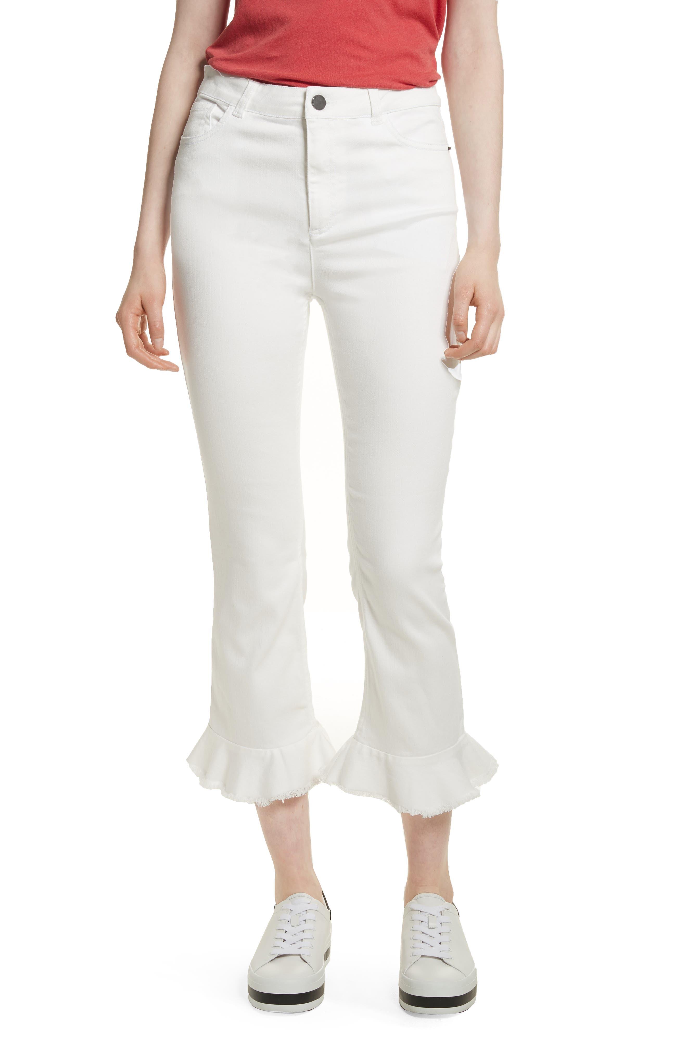 AO.LA Zoe Ruffle Hem Crop Jeans,                         Main,                         color, White