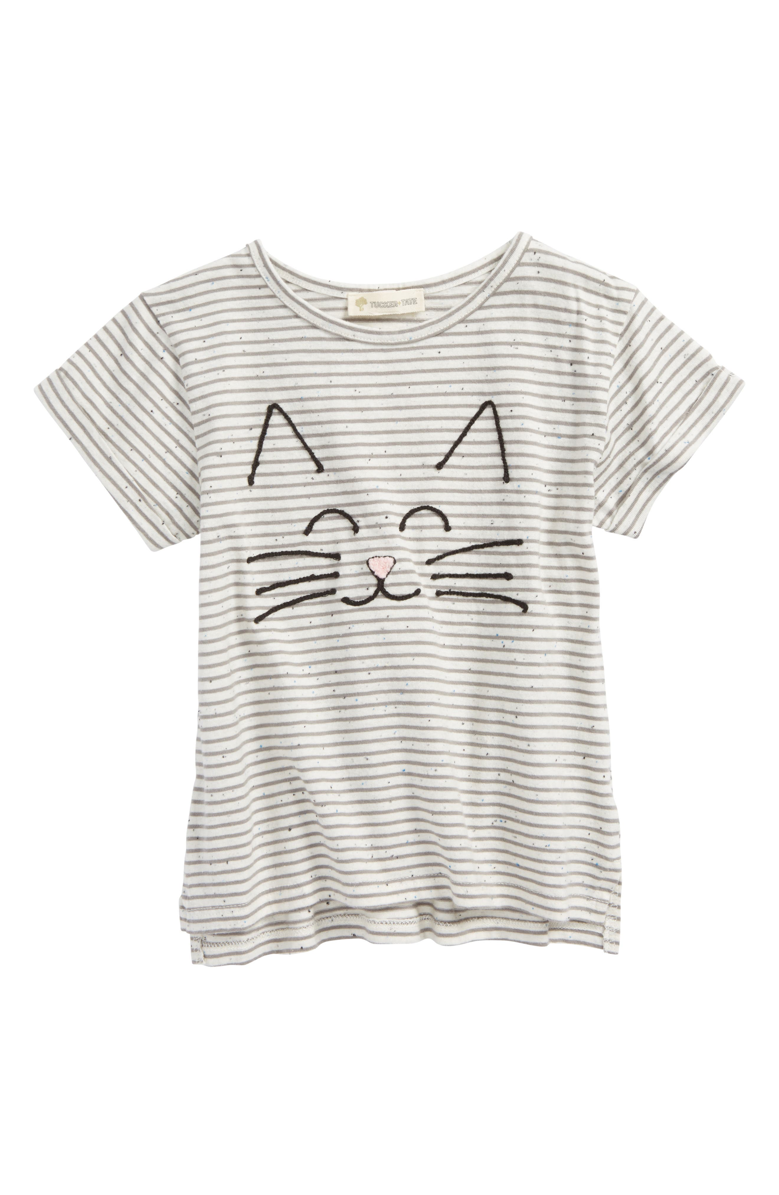 Tucker + Tate Embroidered Stripe Tee (Toddler Girls, Little Girls & Big Girls)