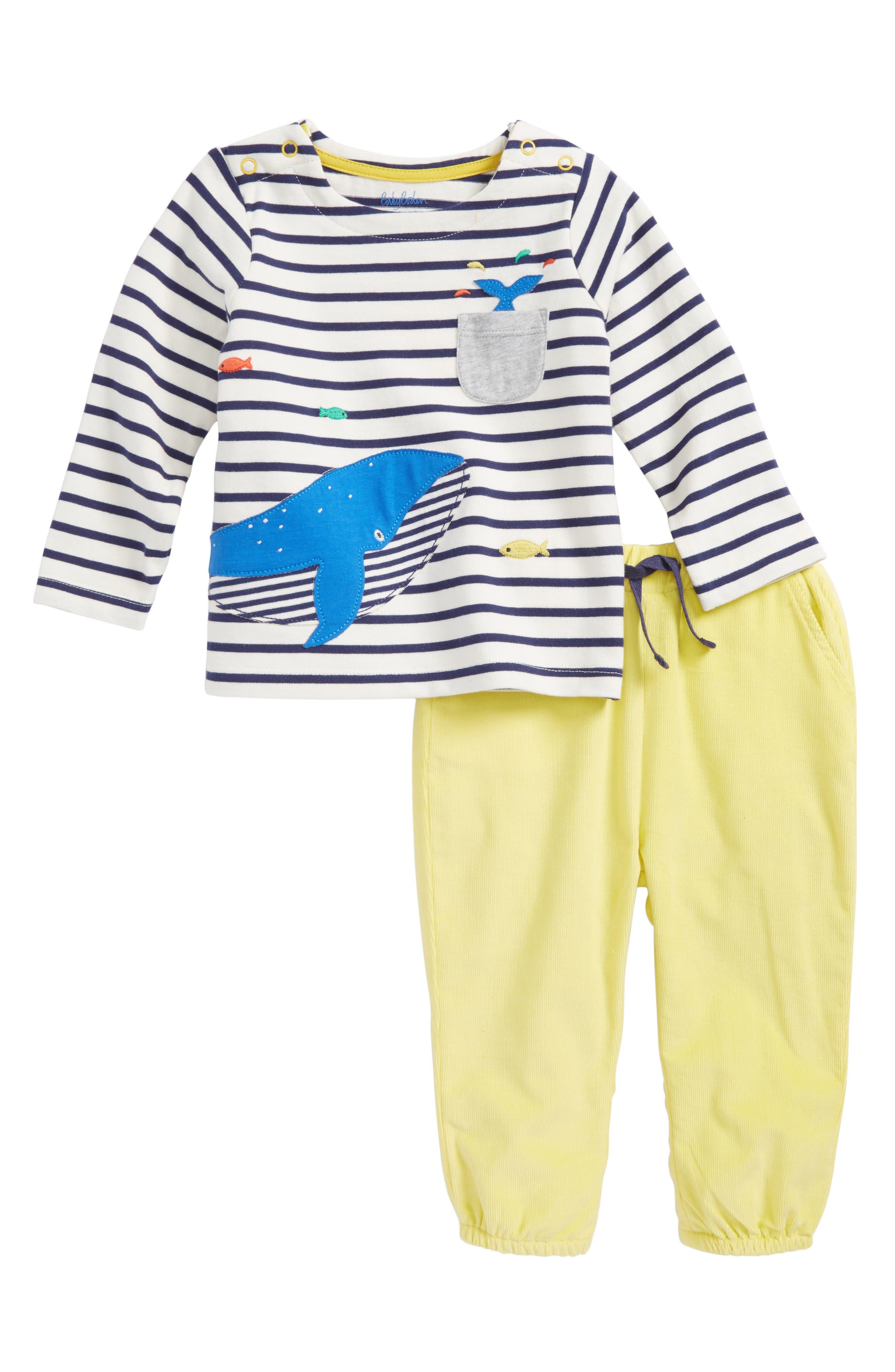 Fun Pocket Top & Pants Set,                             Main thumbnail 1, color,                             Ecru/ Beacon Blue