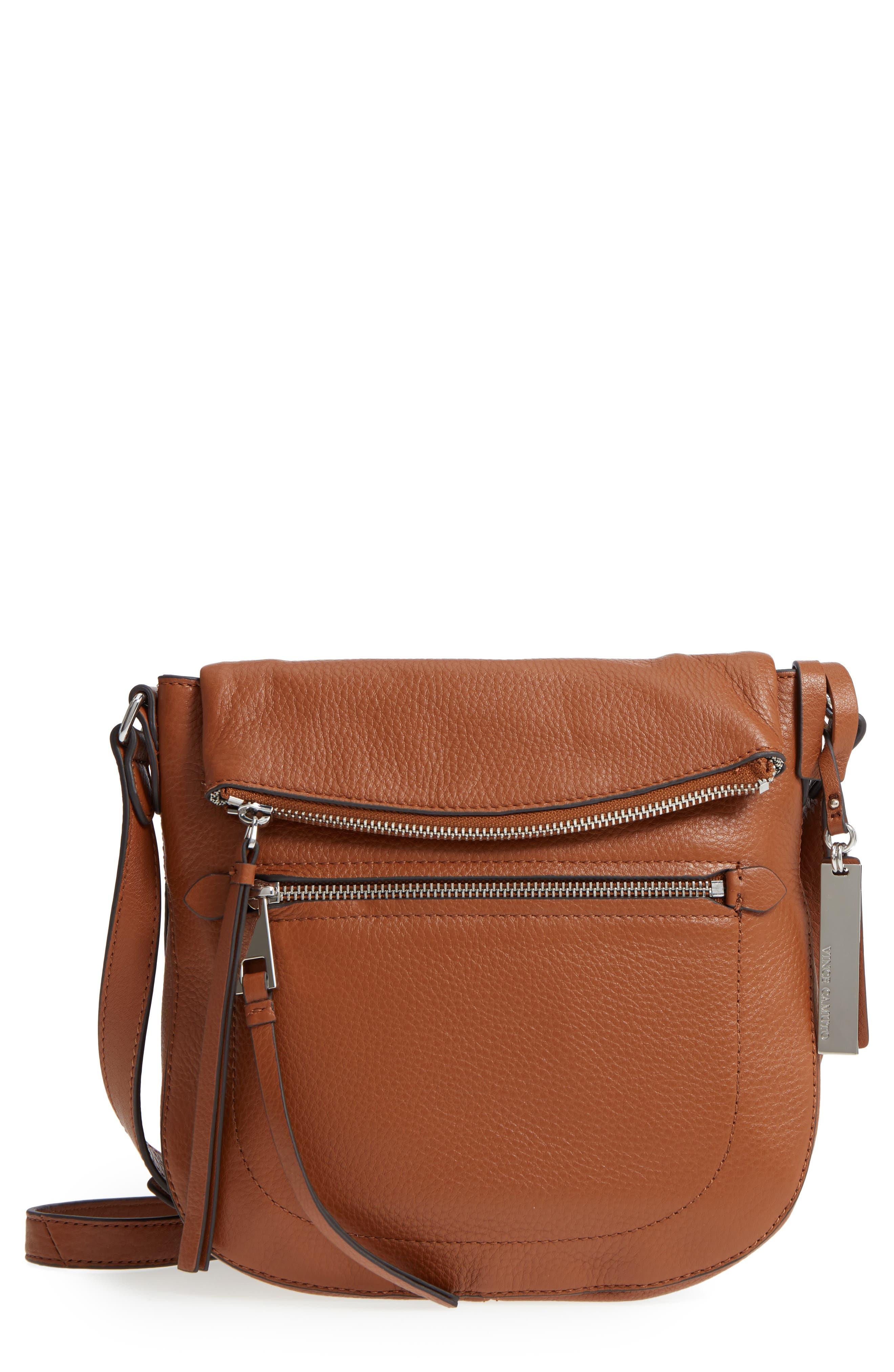 'Tala' Leather Crossbody Bag,                             Main thumbnail 1, color,                             Dark Rum