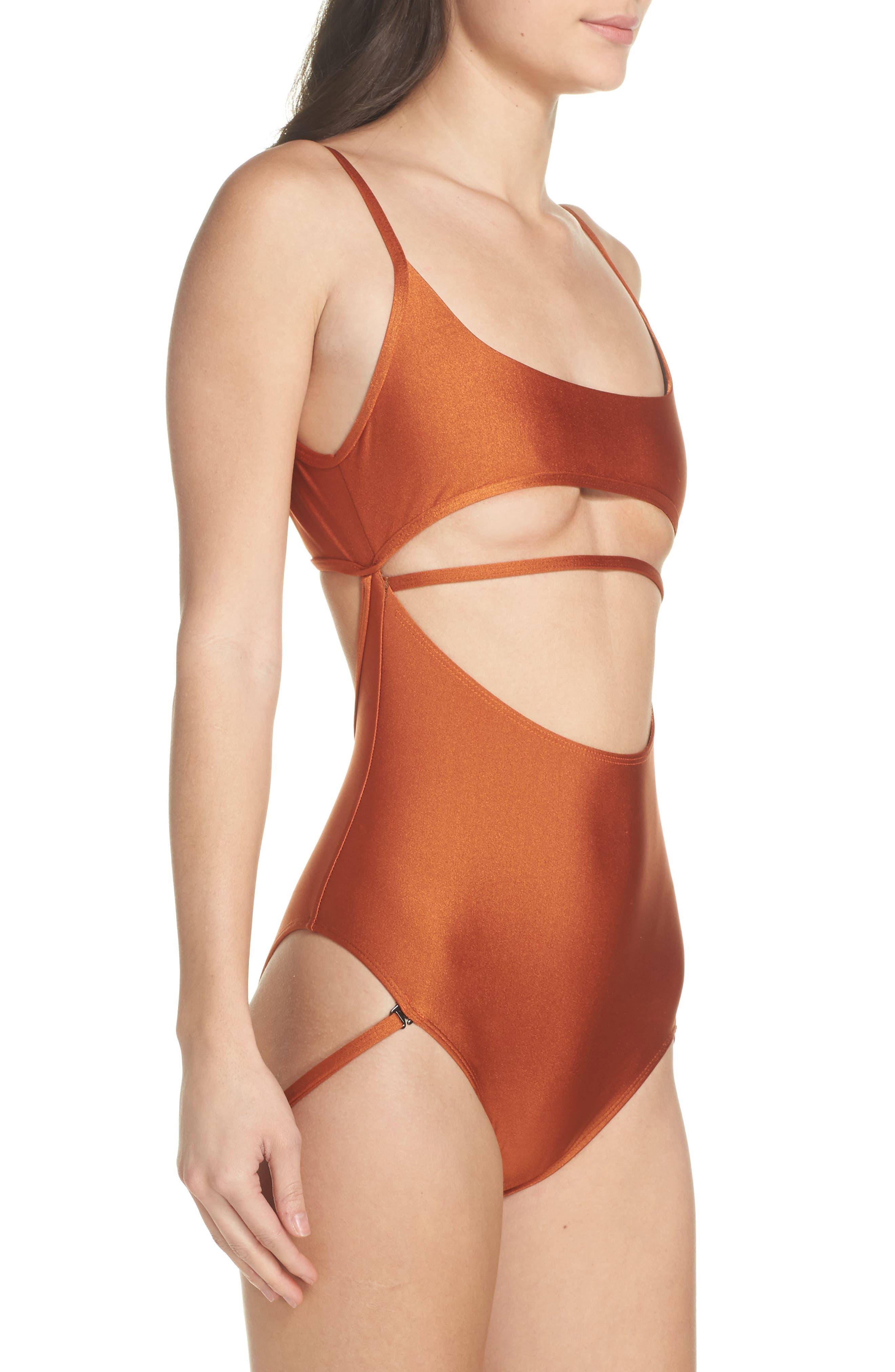 Strata One-Piece Swimsuit,                             Alternate thumbnail 3, color,                             Ginger Orange