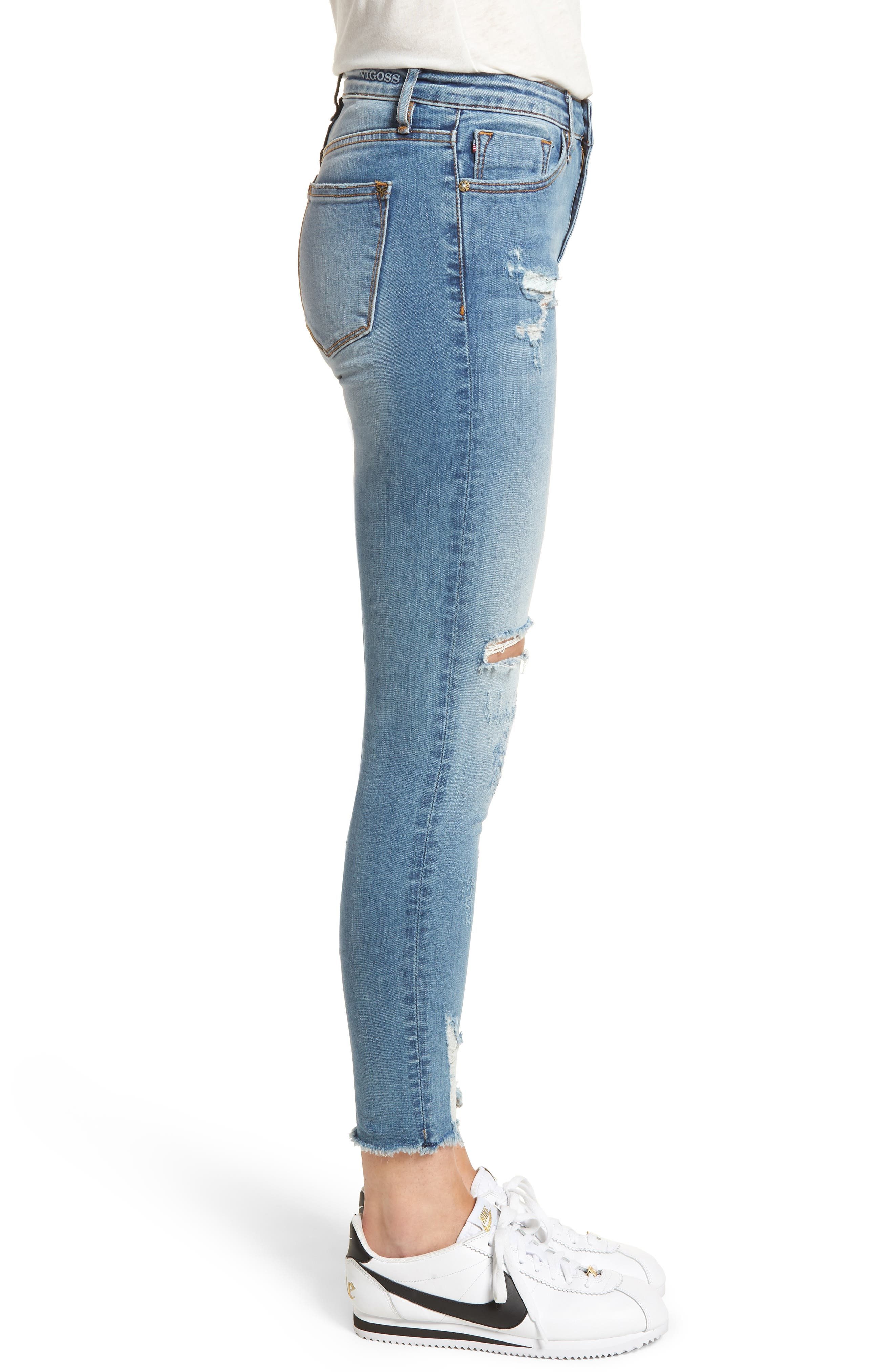 Marley Distressed Skinny Jeans,                             Alternate thumbnail 3, color,                             Medium Wash