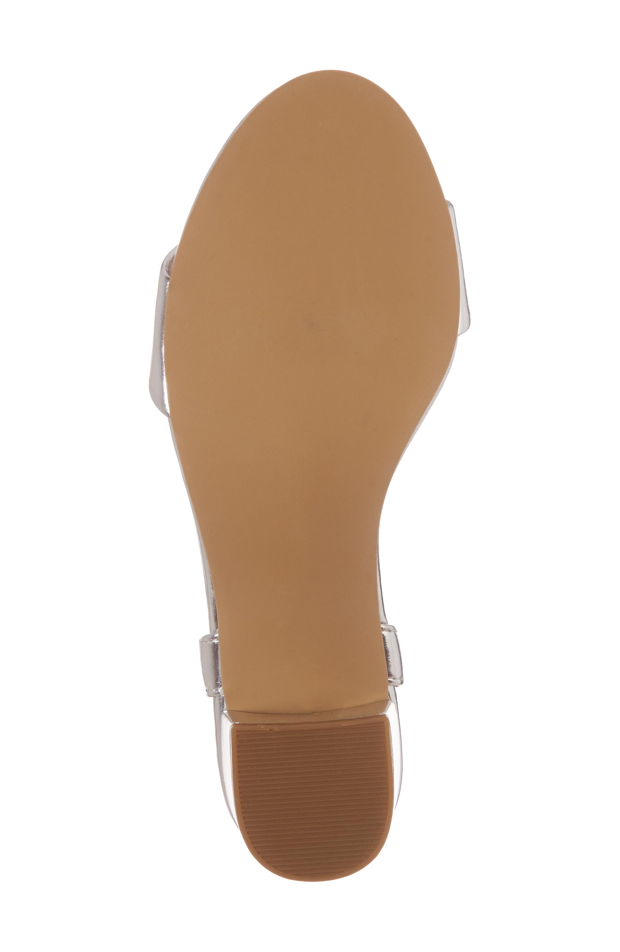 Danni Block Heel Sandal,                             Alternate thumbnail 6, color,                             Silver Faux Leather