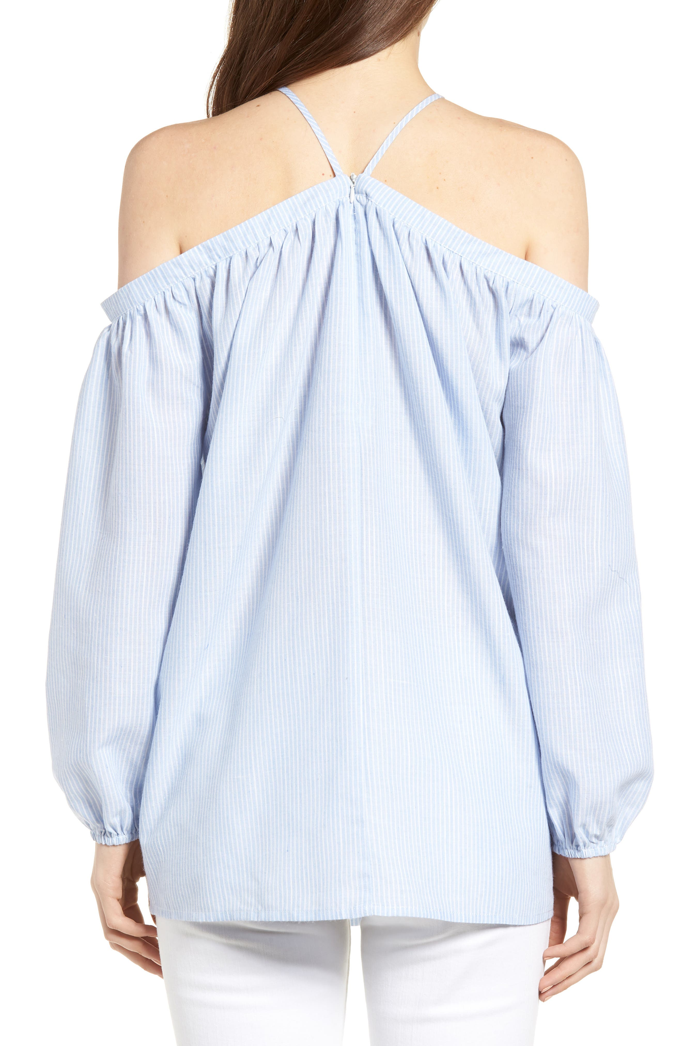 Bishop + Young Ana Stripe Off the Shoulder Top,                             Alternate thumbnail 2, color,                             Blue White Stripe