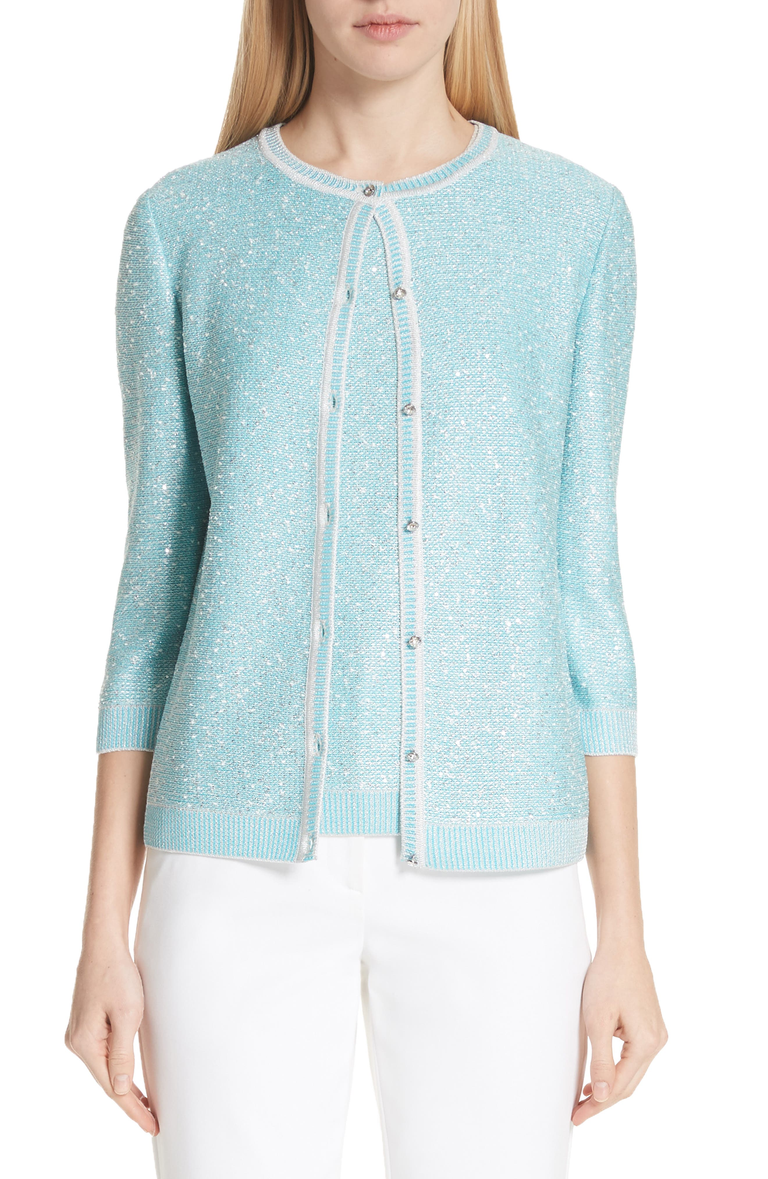 St. John Collection Flecked Sparkle Knit Cardigan