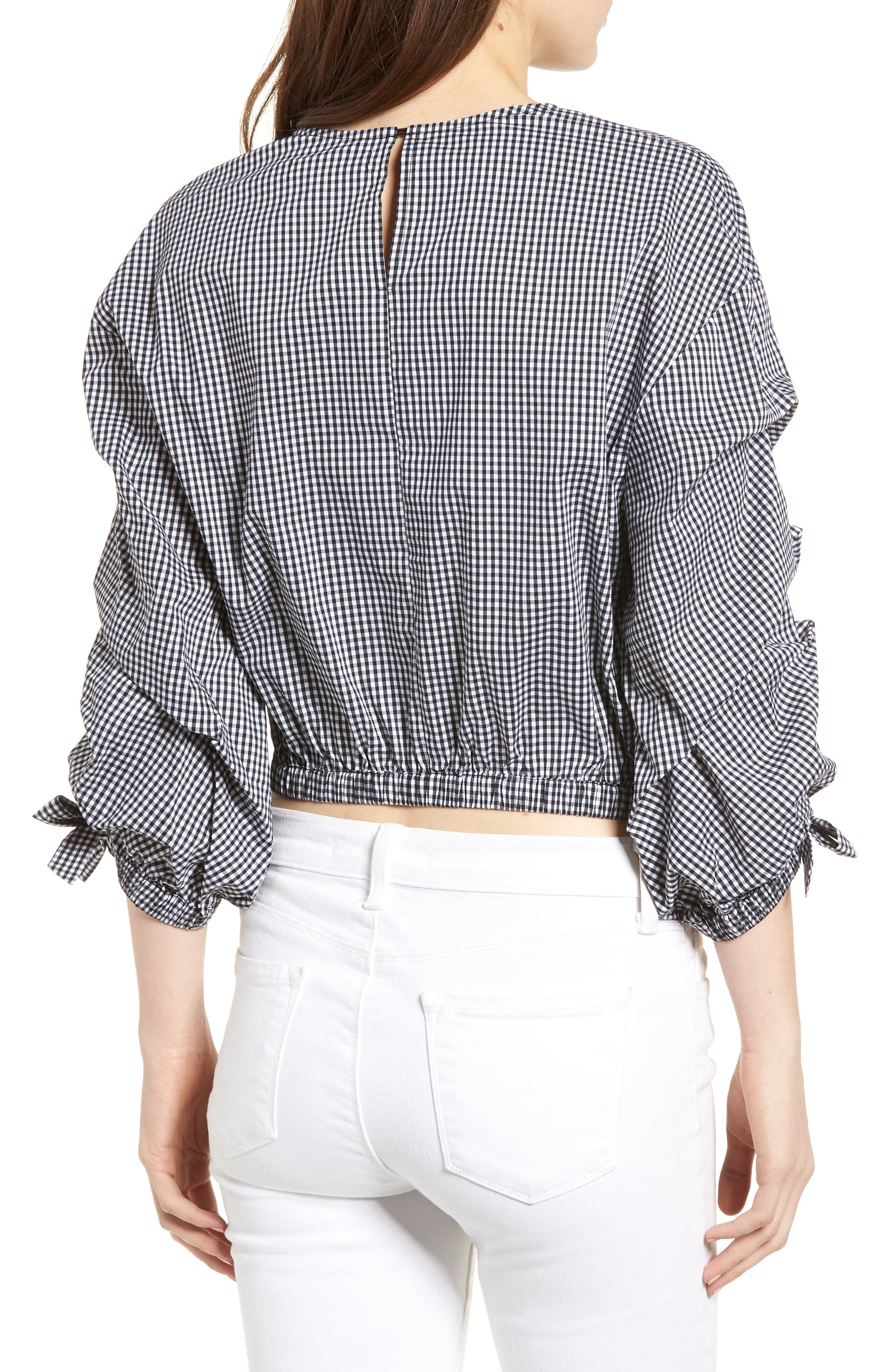 Bishop + Young Ruched Sleeve Blouse,                             Alternate thumbnail 2, color,                             Gingham