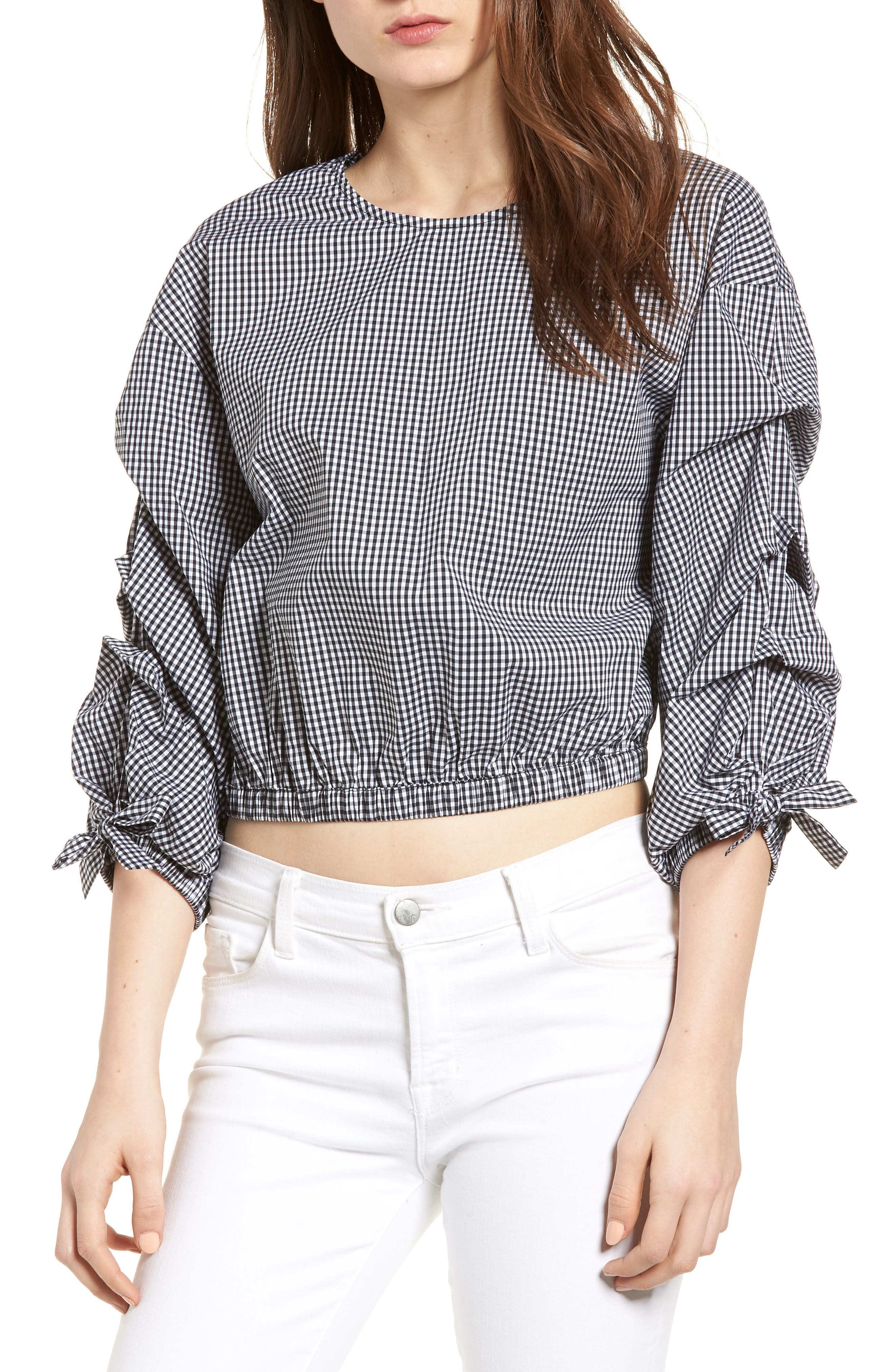 Bishop + Young Ruched Sleeve Blouse,                             Main thumbnail 1, color,                             Gingham
