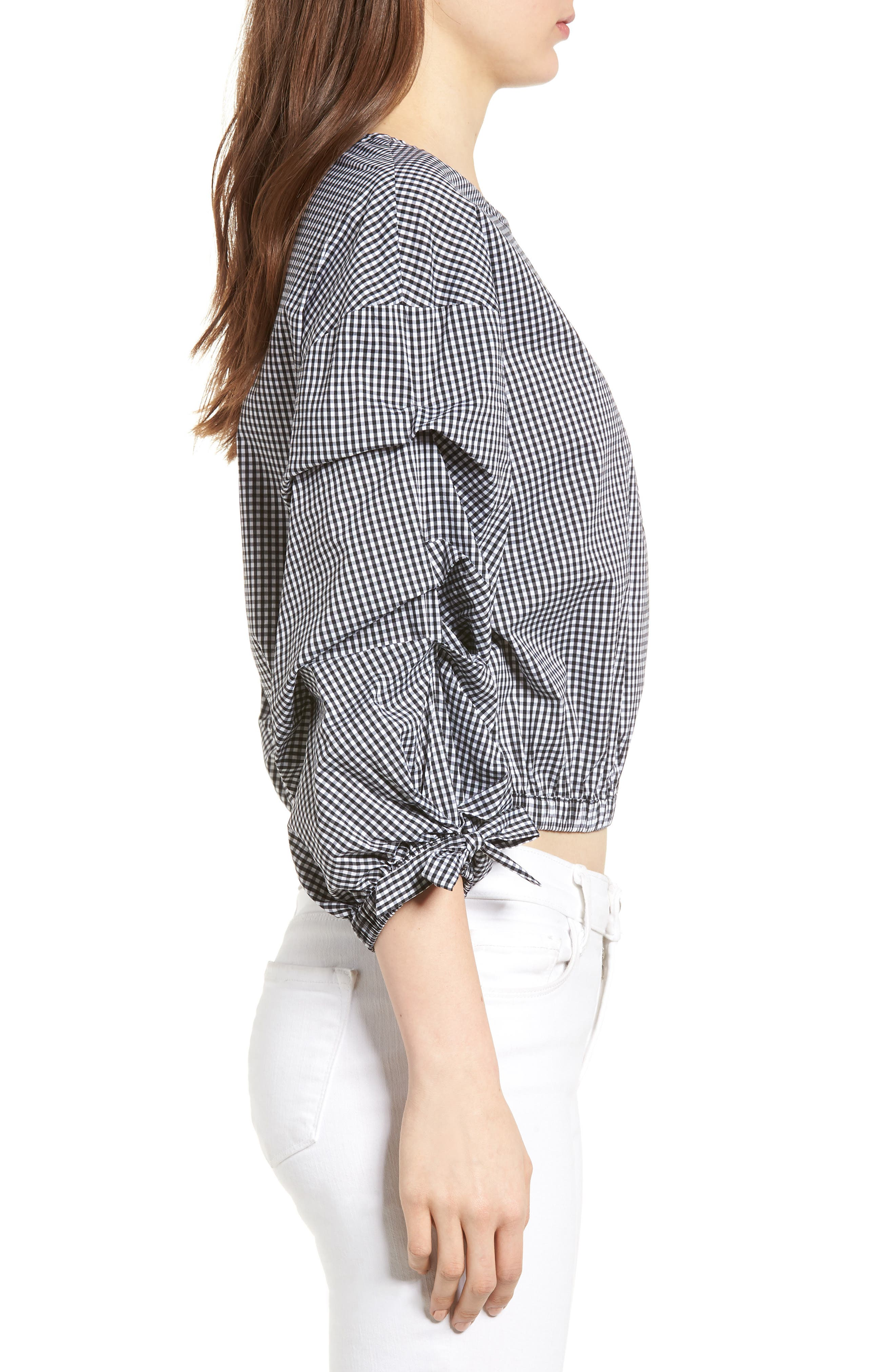 Bishop + Young Ruched Sleeve Blouse,                             Alternate thumbnail 3, color,                             Gingham