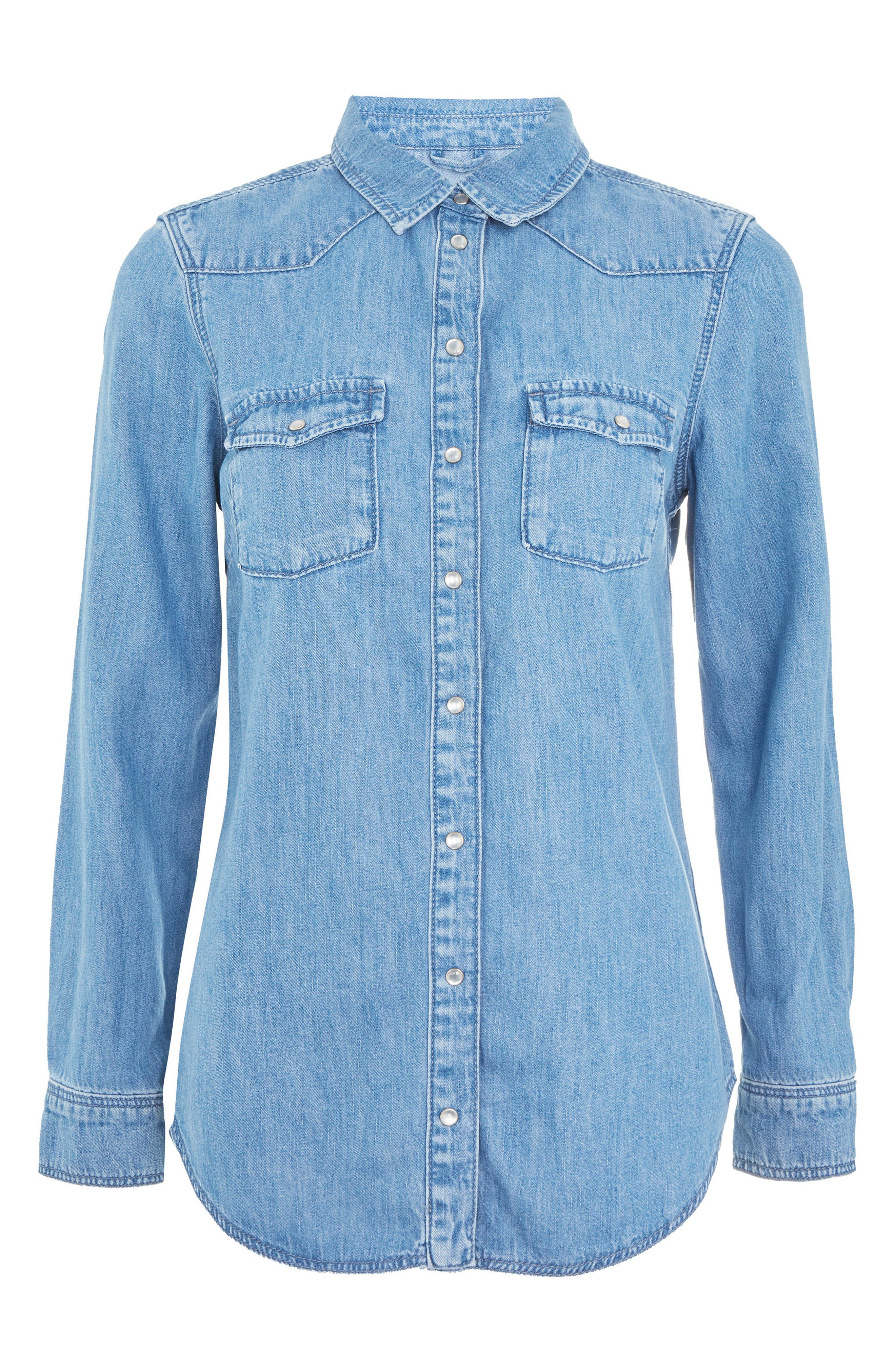 Gigi Fitted Denim Western Shirt,                             Alternate thumbnail 4, color,                             Light Denim