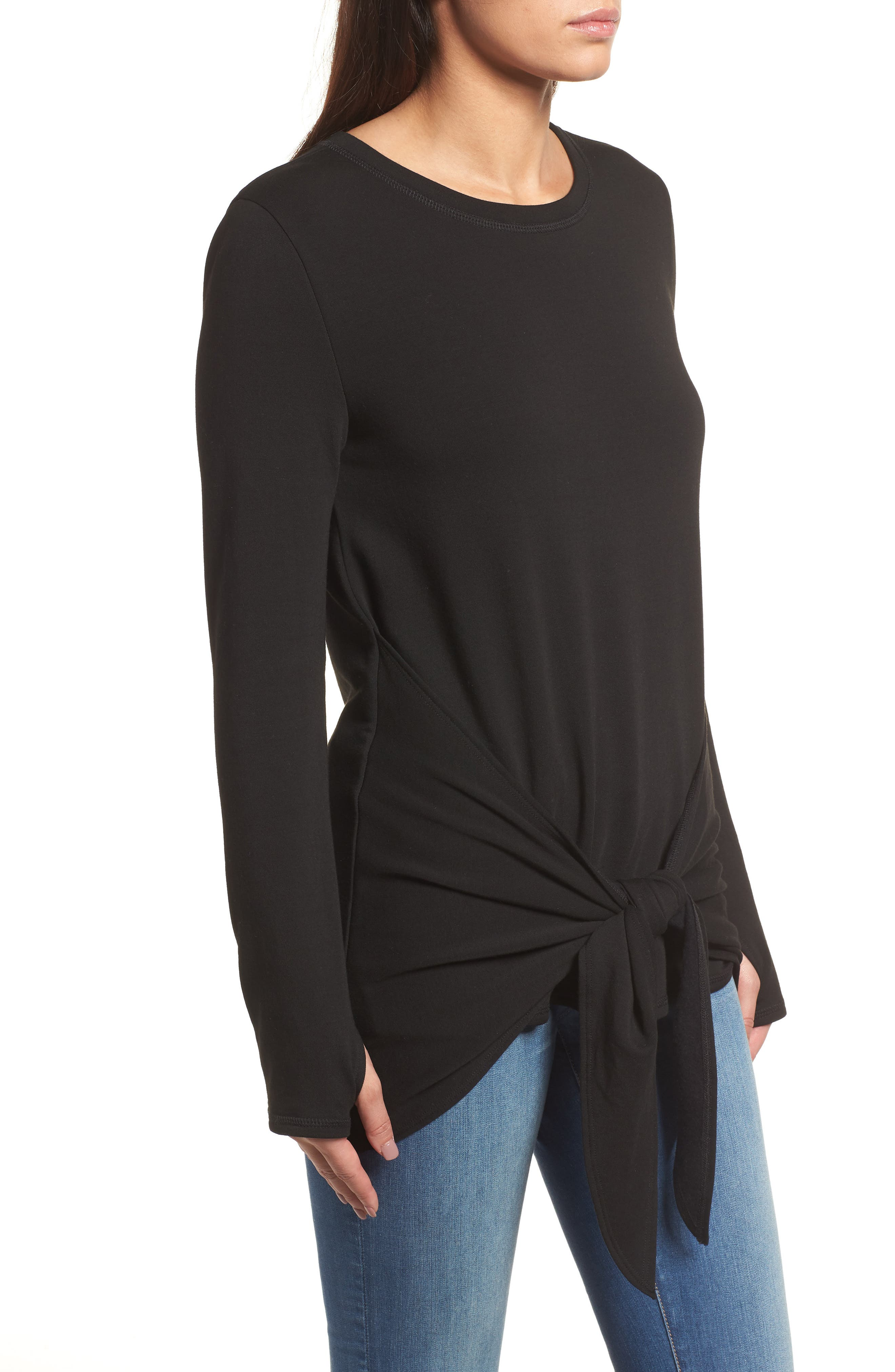 Off-Duty Tie Front Sweatshirt,                             Alternate thumbnail 3, color,                             Black