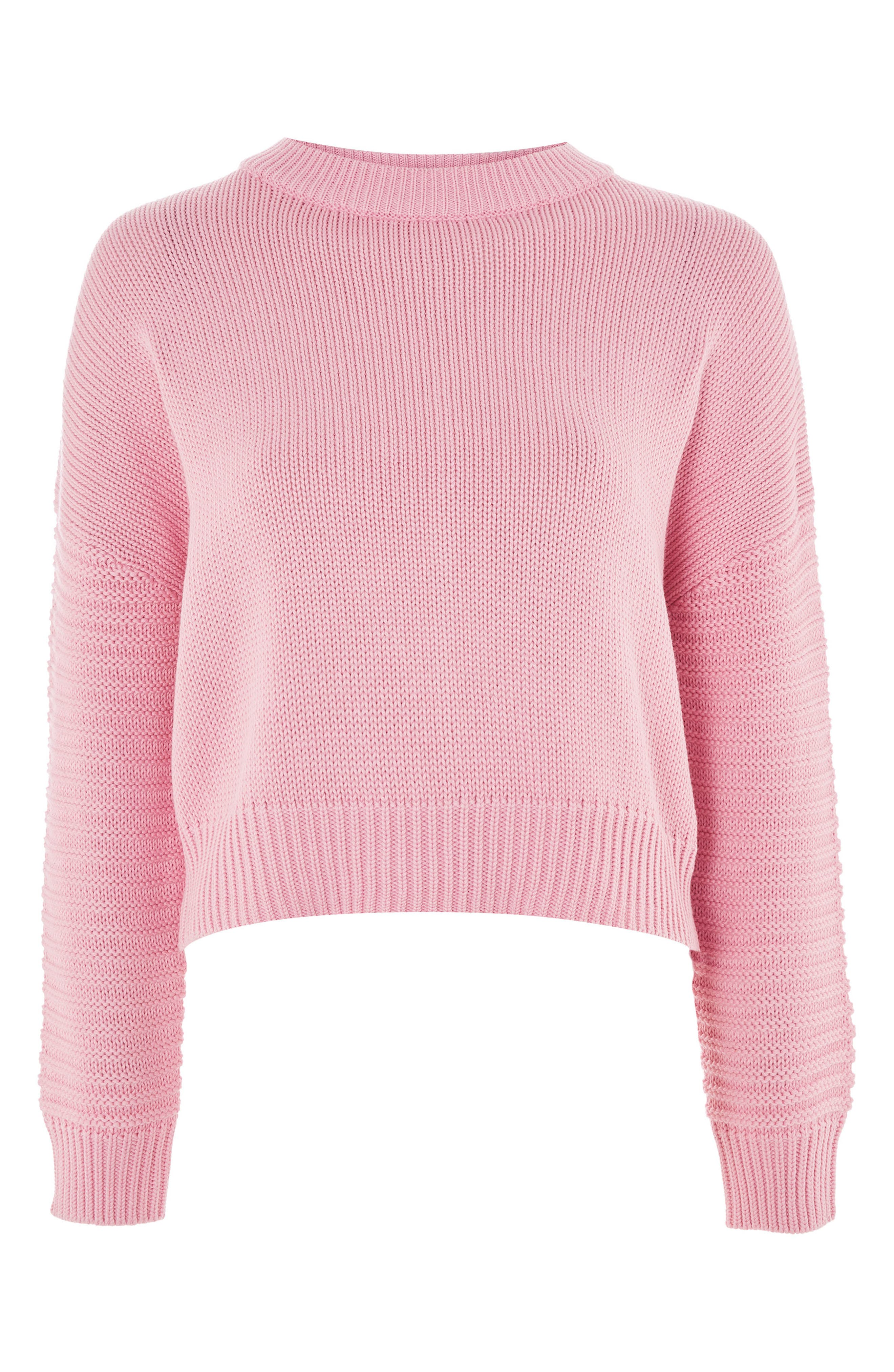 Stitch Detail Sleeve Sweater,                             Alternate thumbnail 4, color,                             Pink