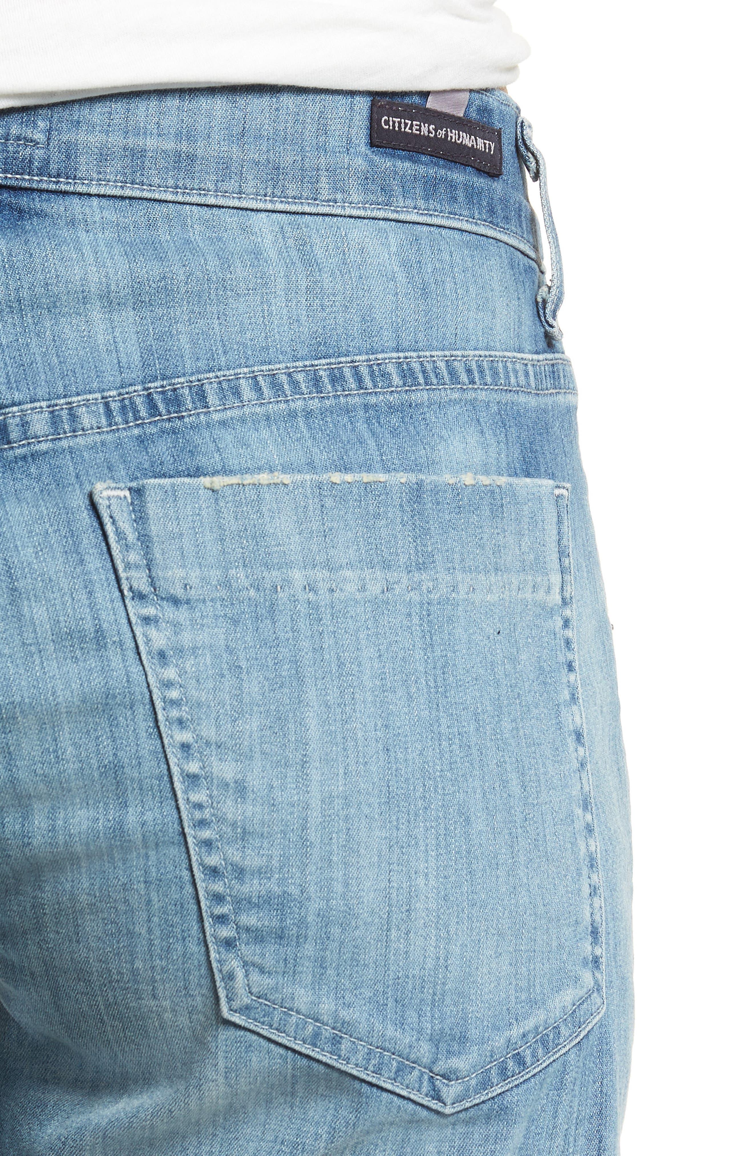 Skyler Denim Shorts,                             Alternate thumbnail 4, color,                             Mercury