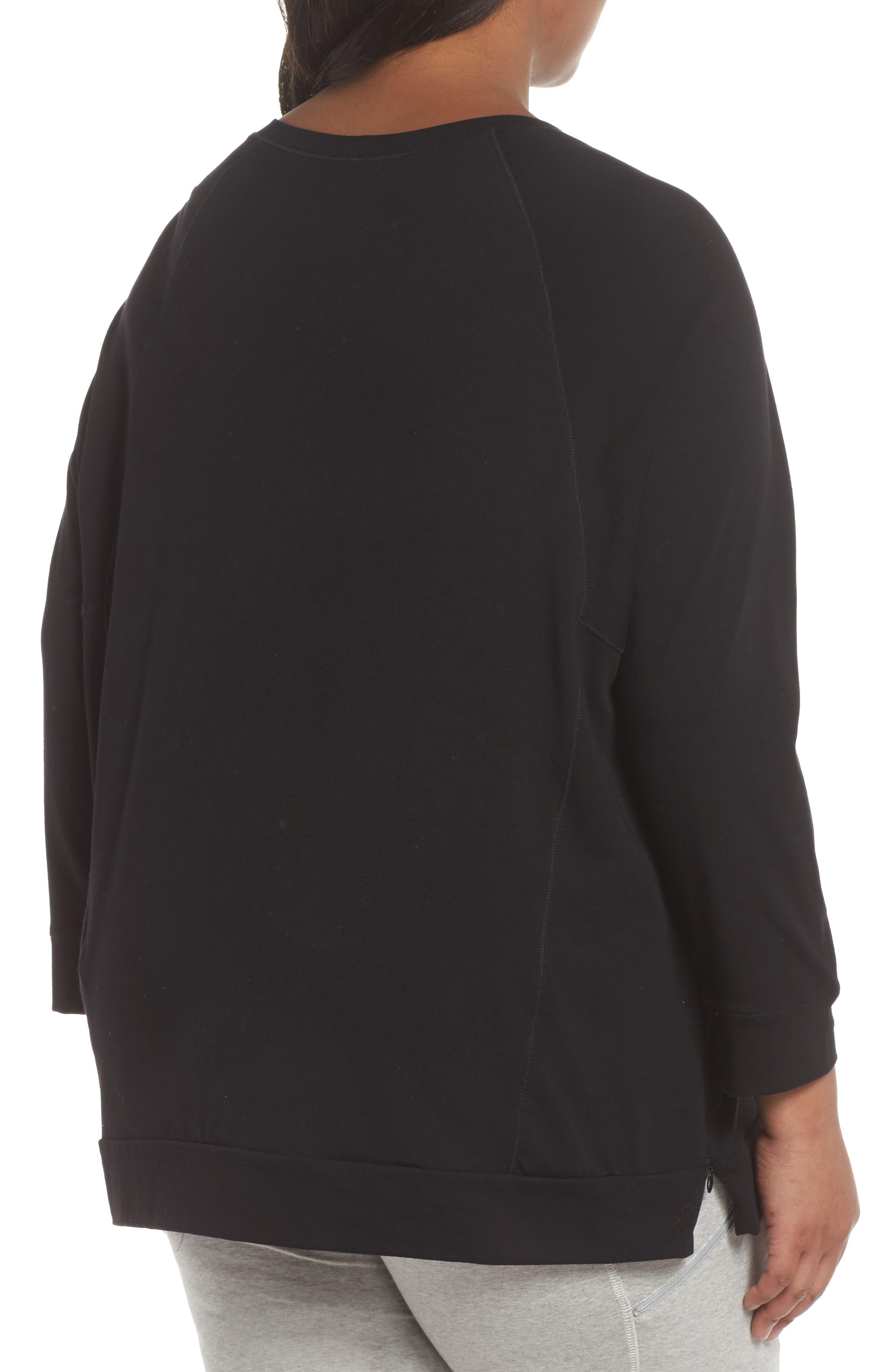 Organic Jersey Side Zip Top,                             Alternate thumbnail 2, color,                             Black