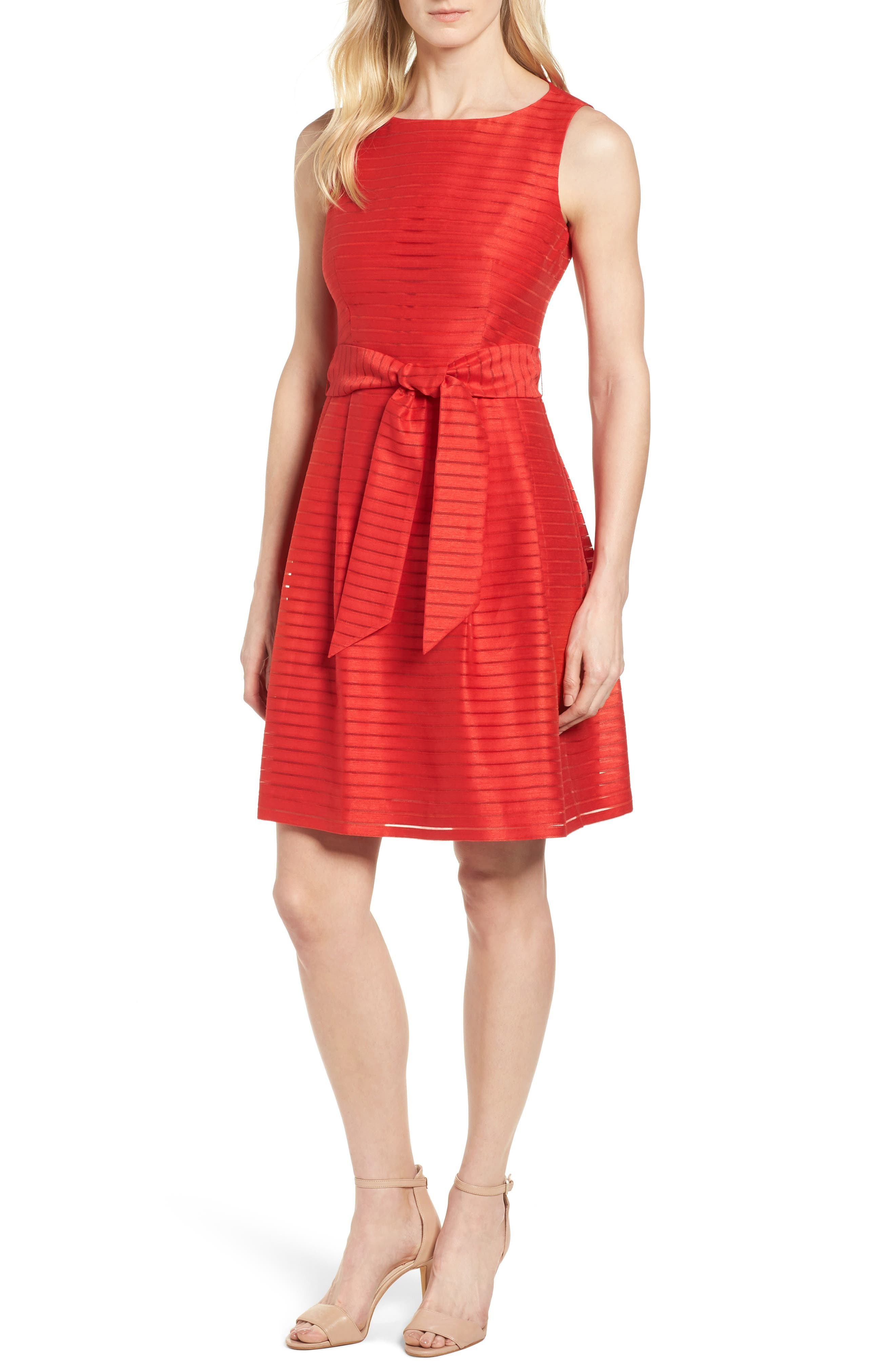 Shadow Stripe Fit & Flare Dress,                         Main,                         color, Tomato