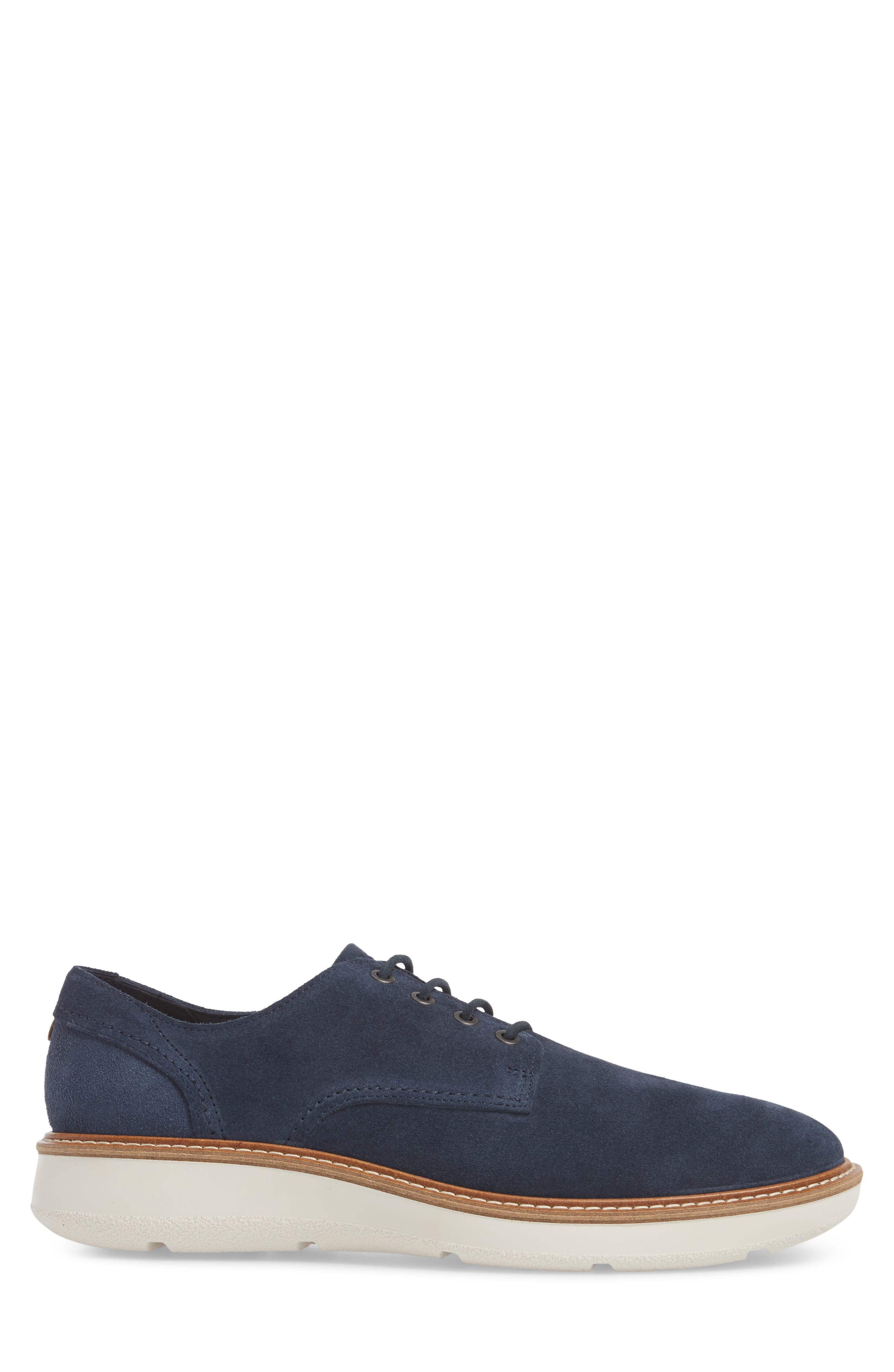 Aurora Hybrid Plain Toe Derby,                             Alternate thumbnail 3, color,                             Marine Leather