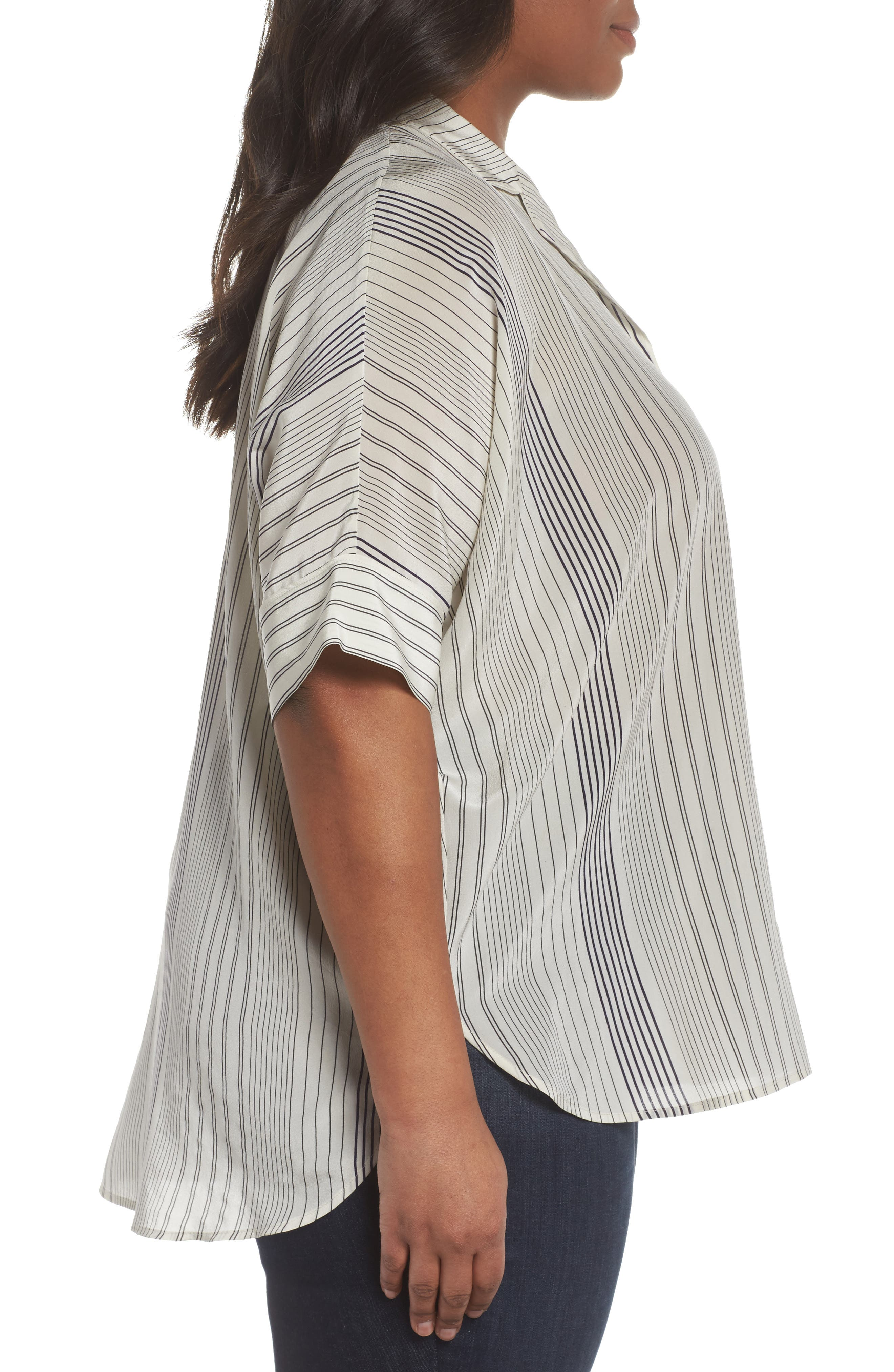 Stripe Silk Shirt,                             Alternate thumbnail 3, color,                             Bone
