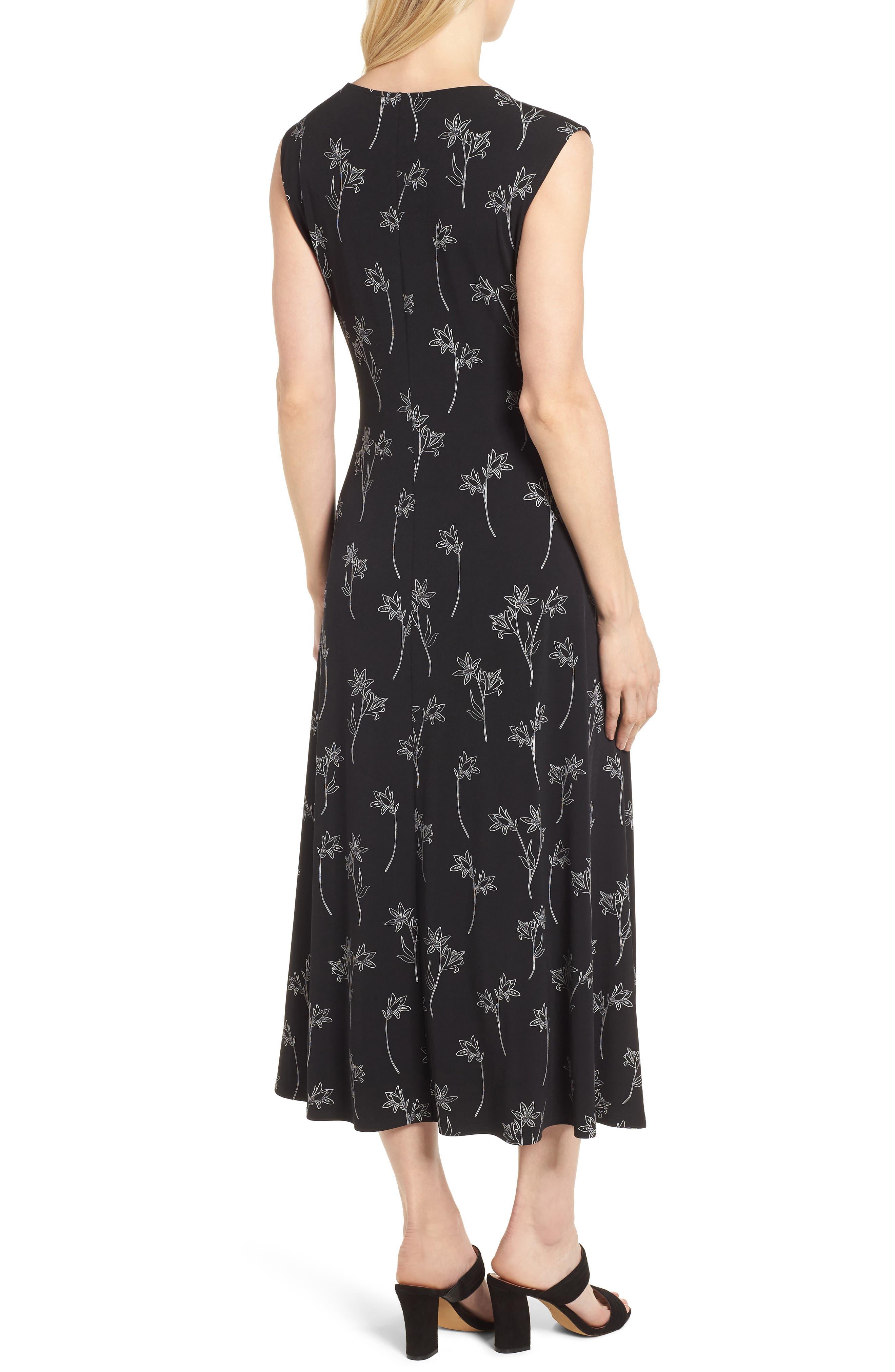 Floral Outlines Knot Front Maxi Dress,                             Alternate thumbnail 2, color,                             060-Rich Black