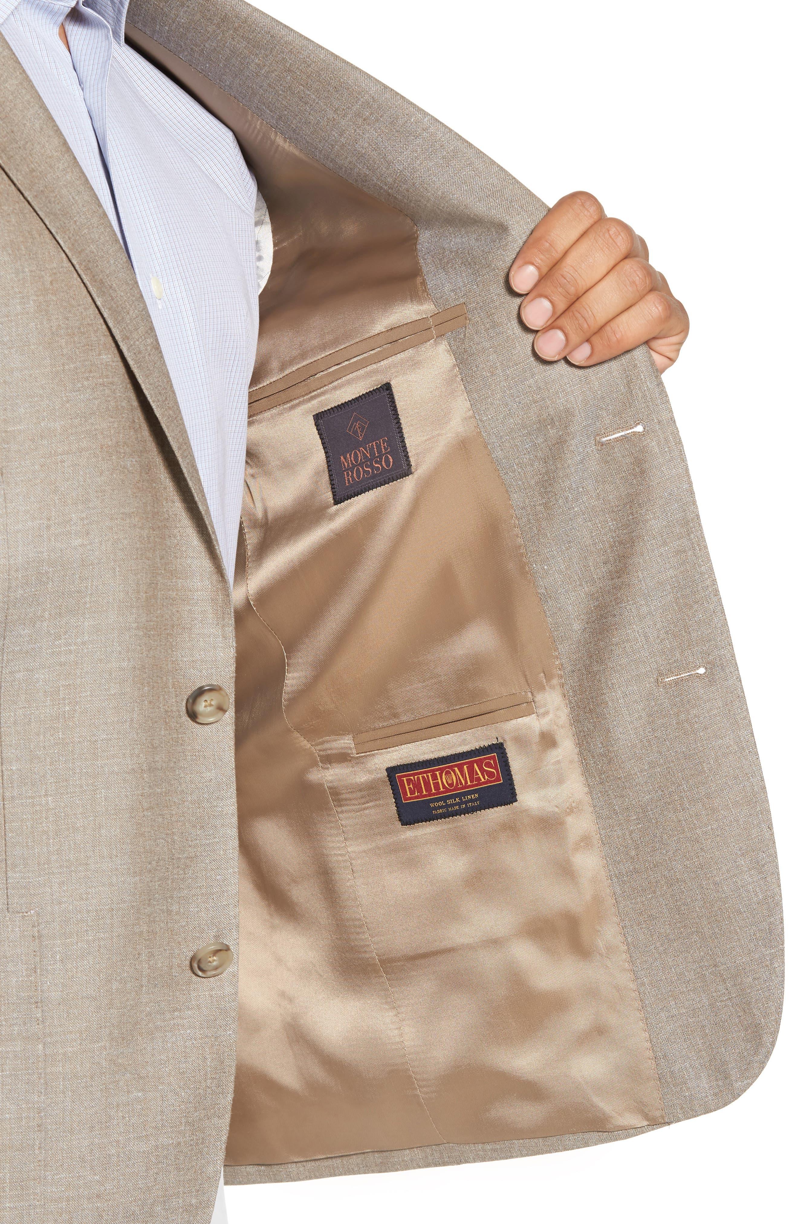 Trim Fit Wool Blend Blazer,                             Alternate thumbnail 4, color,                             Tan