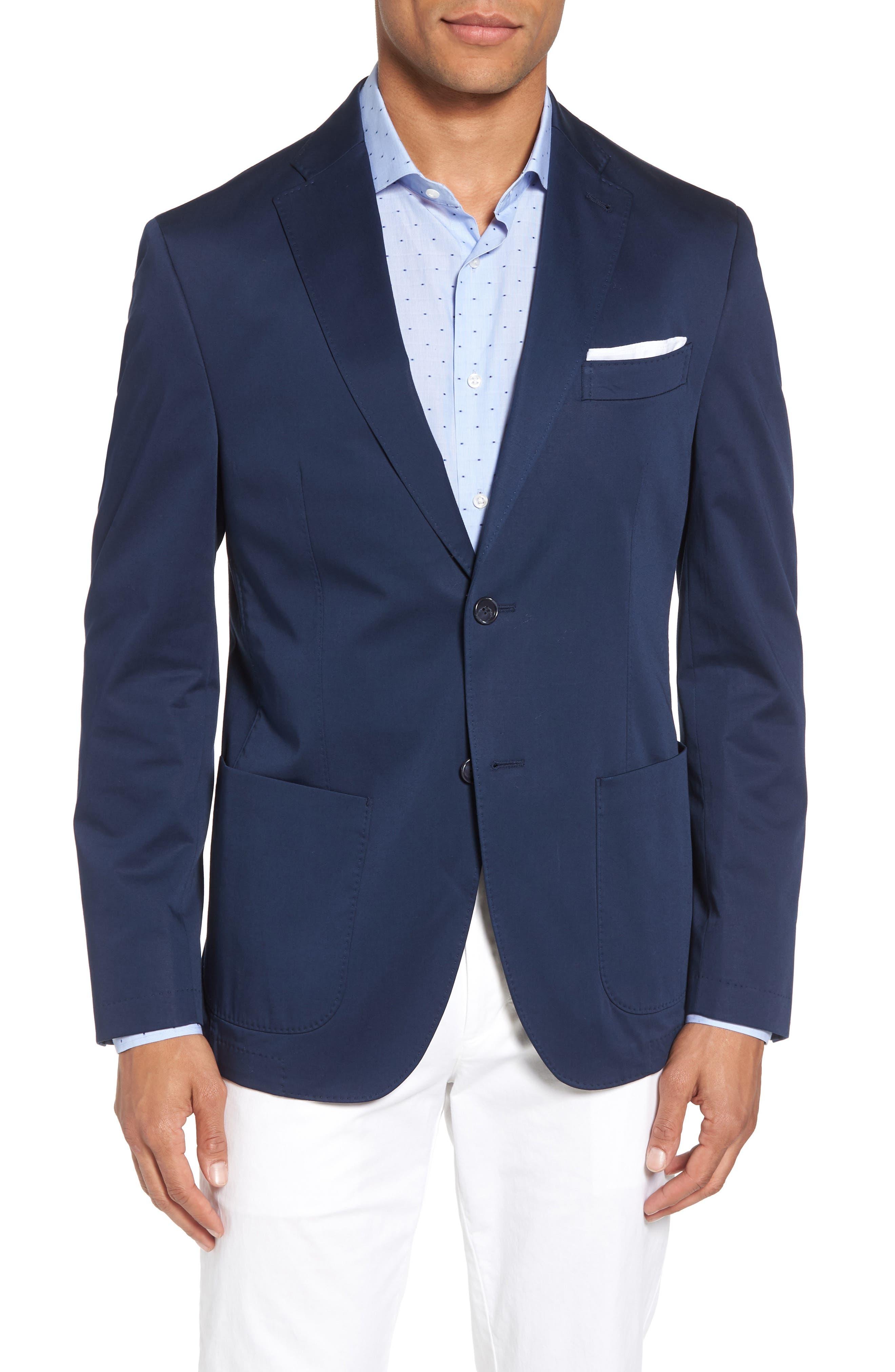 Trent Trim Fit Stretch Cotton Blazer,                         Main,                         color, Navy