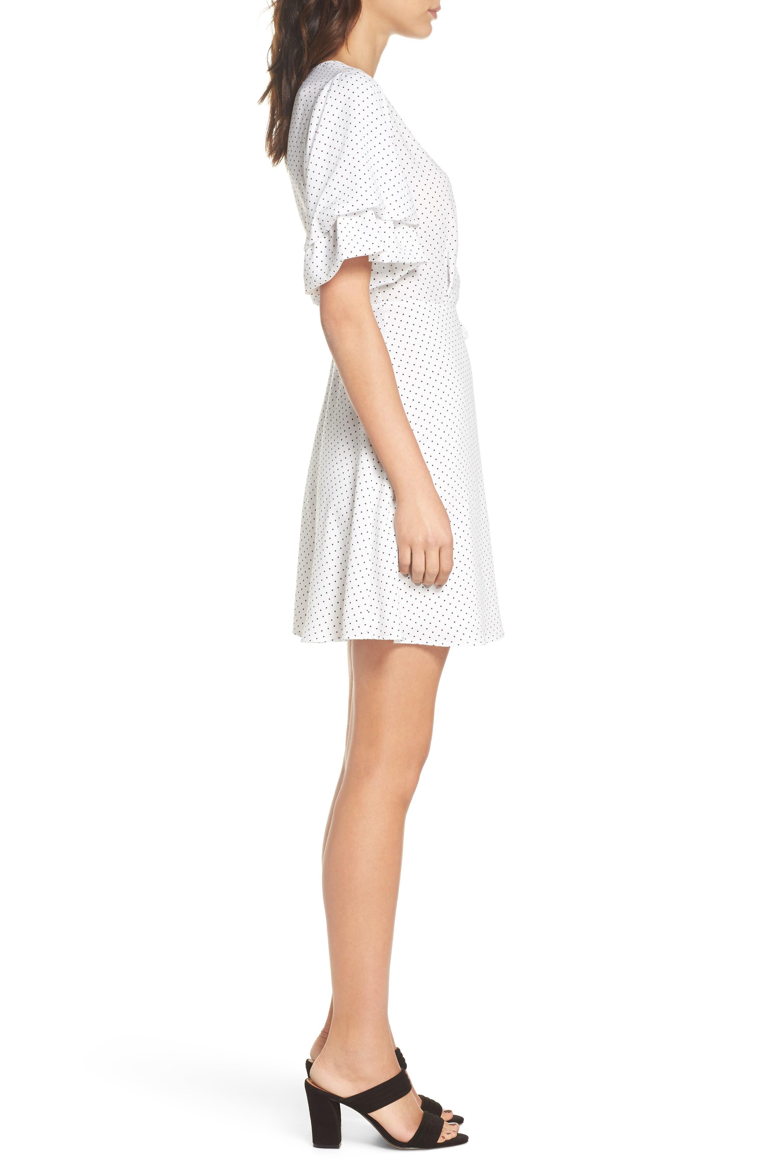 Polka Dot Faux Wrap Dress,                             Alternate thumbnail 3, color,                             White/ Black