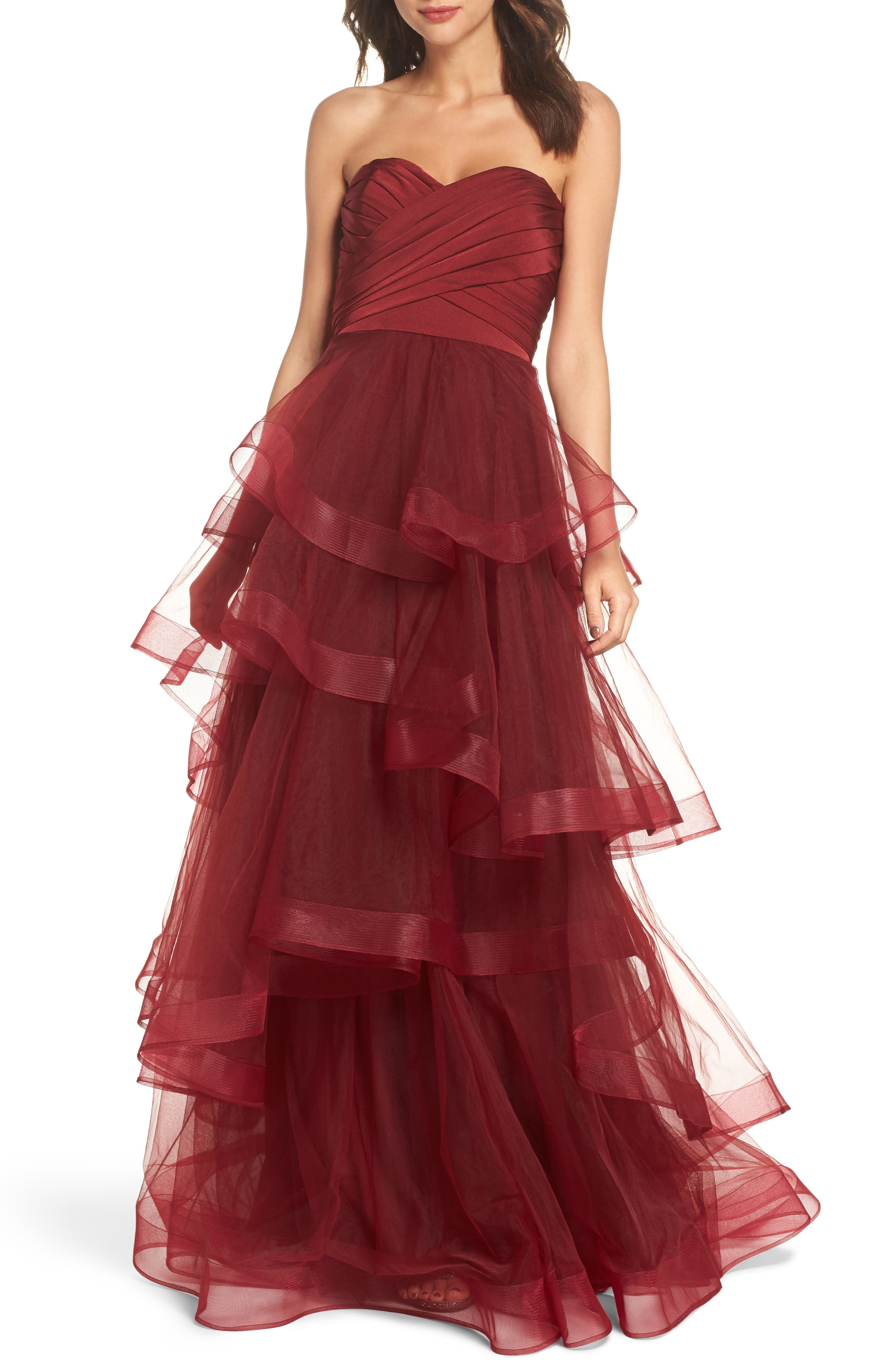 La Femme Strapless Layered Tulle Gown
