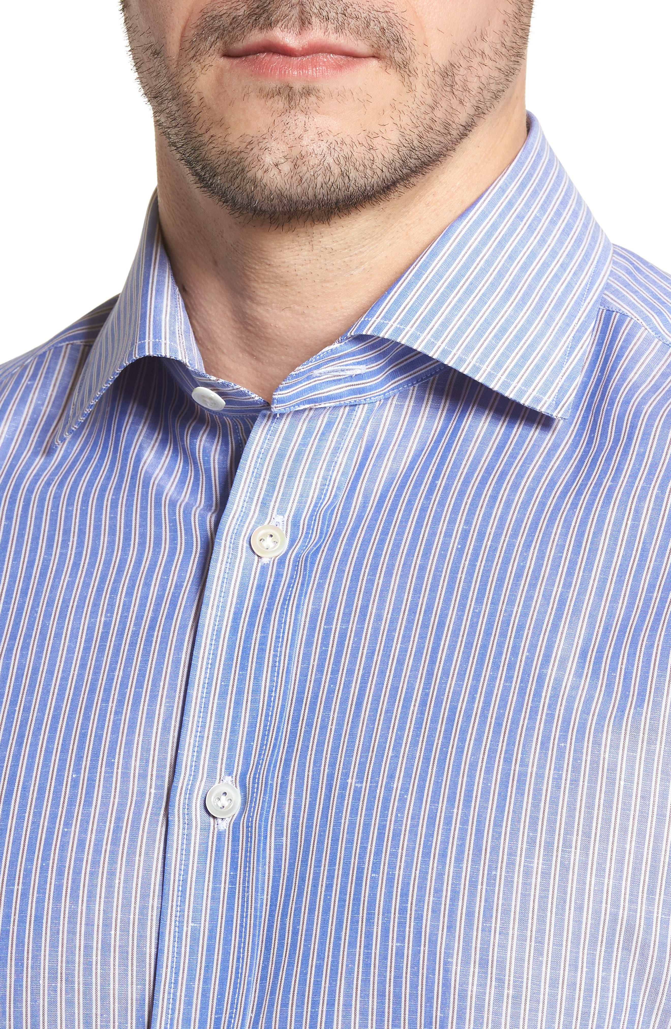 Trim Fit Stripe Sport Shirt,                             Alternate thumbnail 4, color,                             Navy