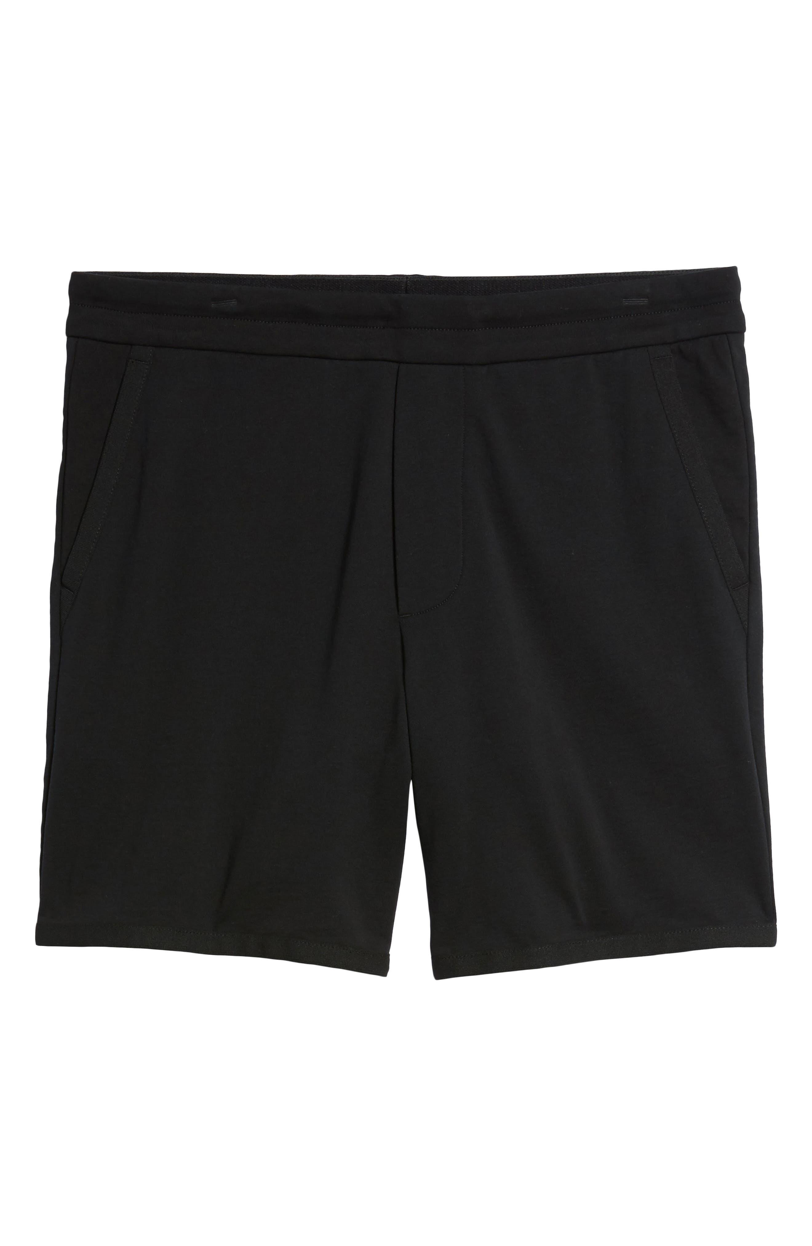 Taped Slim Fit Track Shorts,                             Alternate thumbnail 6, color,                             Black/ Black