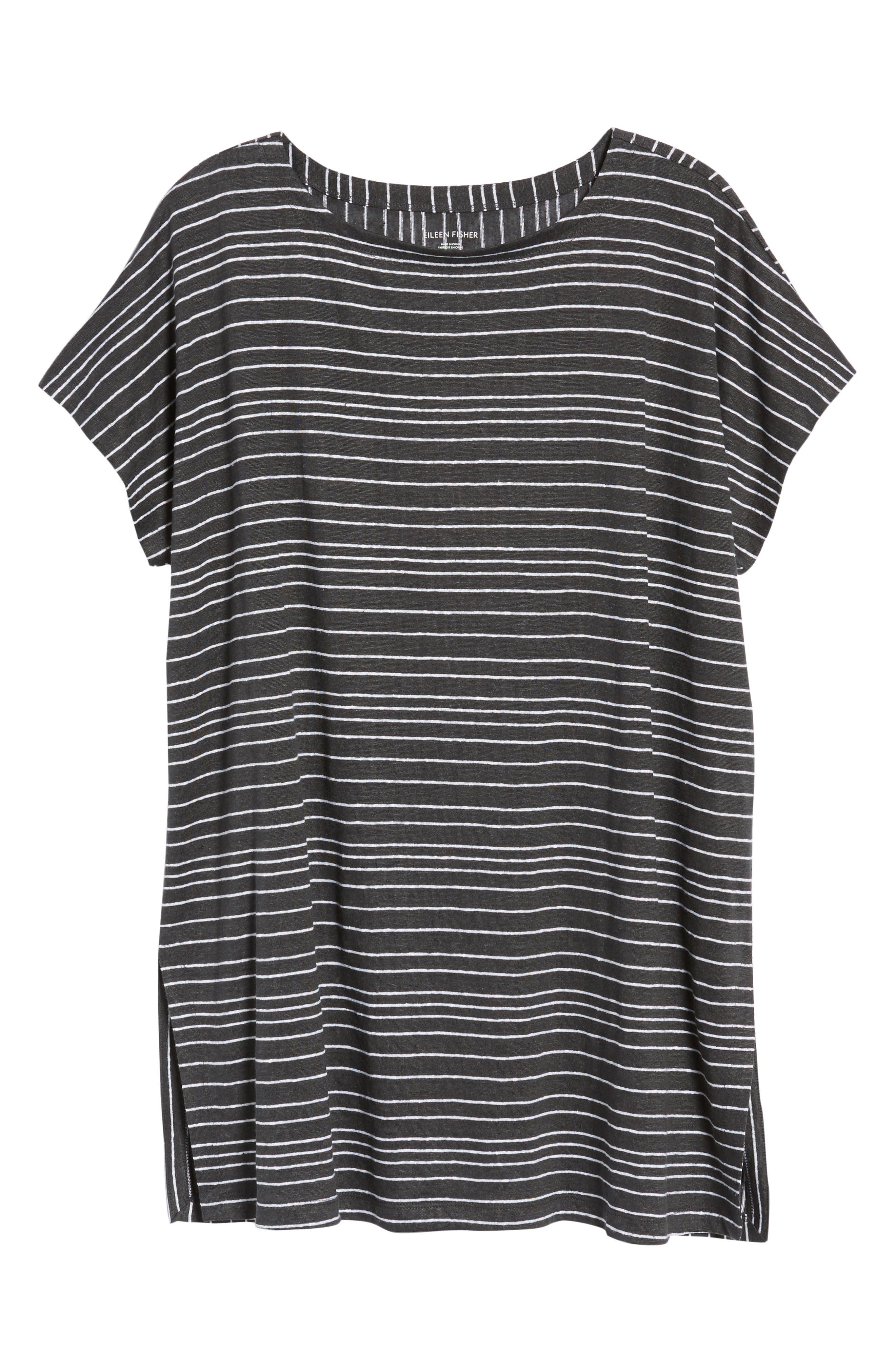 Stripe Organic Linen Tunic,                             Alternate thumbnail 7, color,                             Graphite