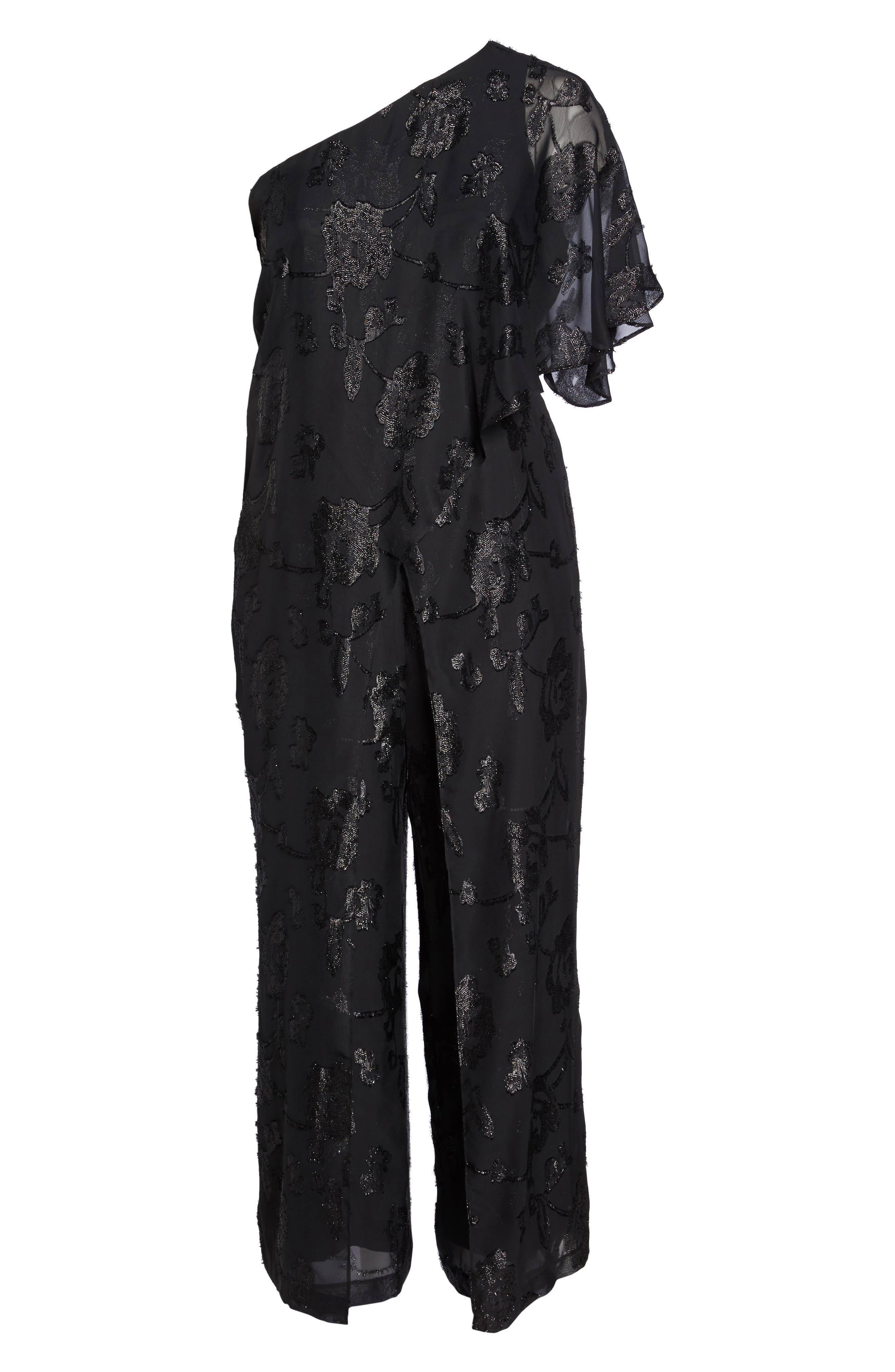 Floral Chiffon One-Shoulder Jumpsuit,                             Alternate thumbnail 6, color,                             Black