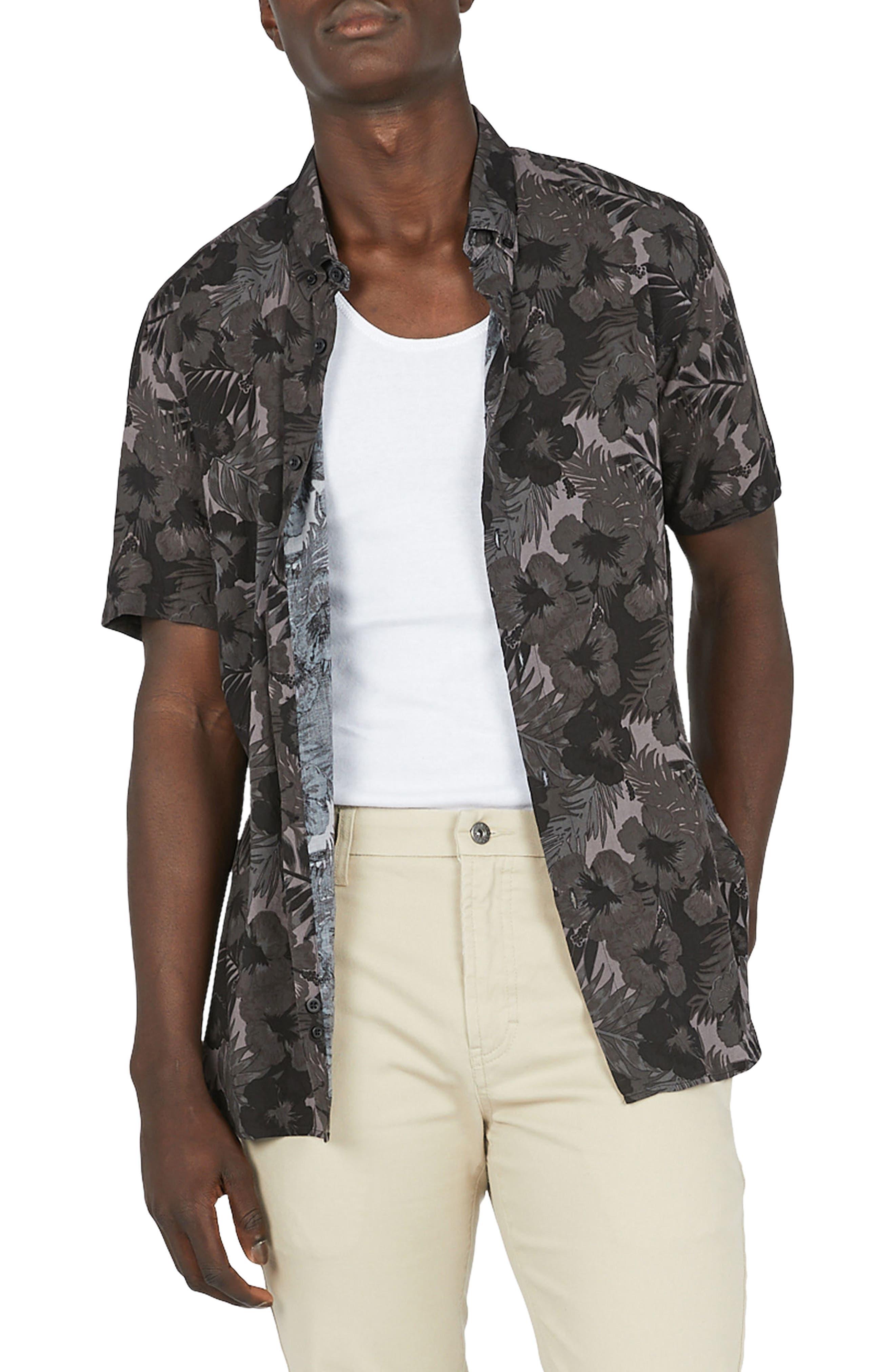 Holiday Woven Shirt,                         Main,                         color, Black Floral